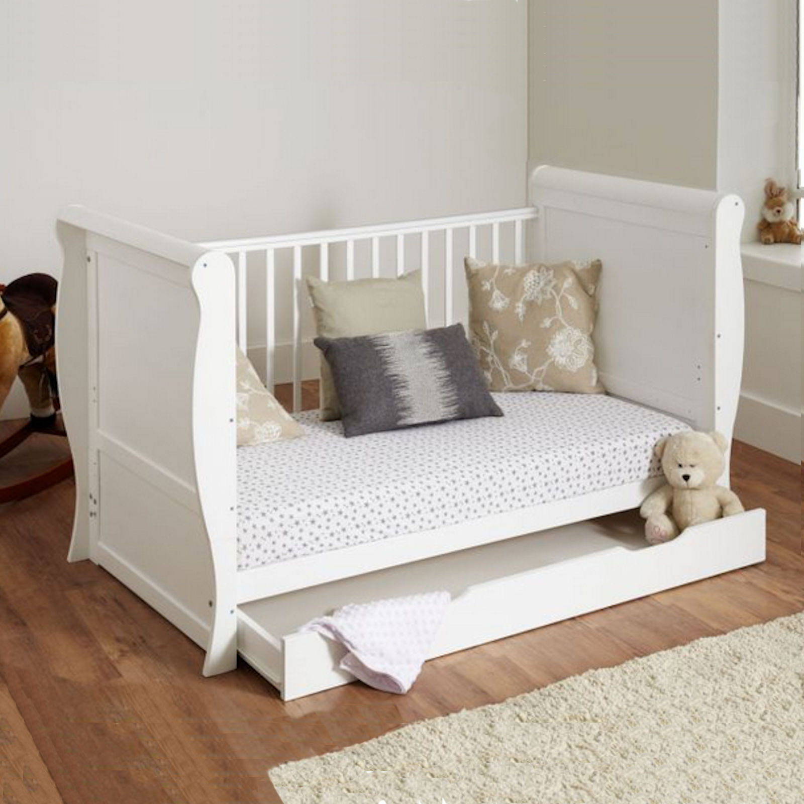 Includes 4 Inch Deluxe Foam Mattress ? Storage Drawer ? Easily Converts to Junior Bed u0026 Sofa ? & 4BABY WHITE SLEIGH COT BED COTBED WITH UNDER BED STORAGE DRAWER ...