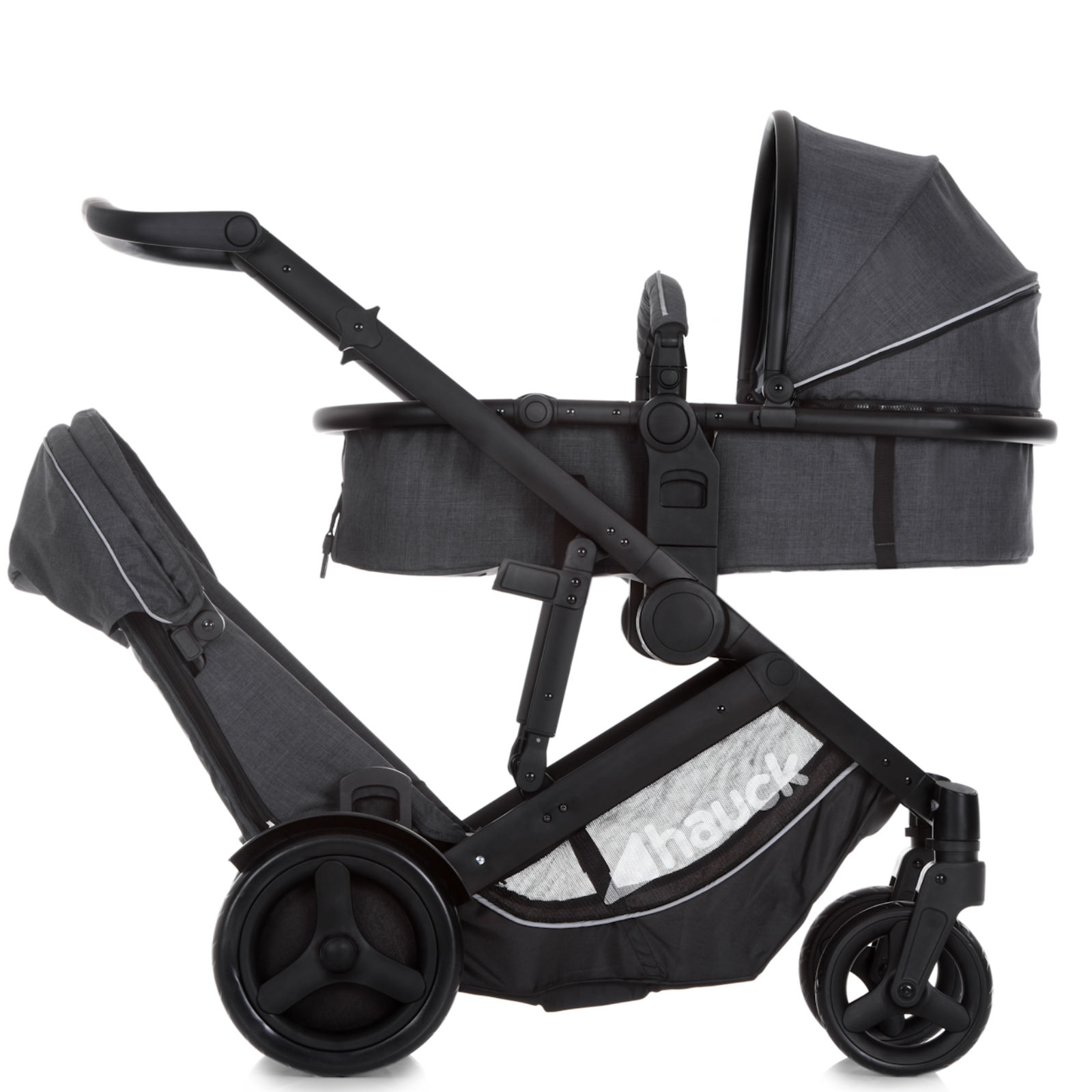 Hauck Duett 3 Tandem Pushchair Melange Charcoal Buy At