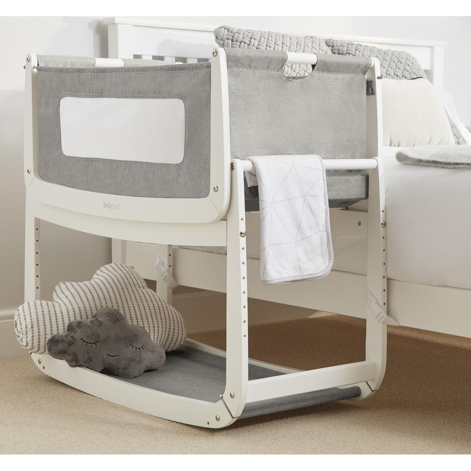 Dusk Grey: Snuz SnuzPod3 Bedside Crib 3 In 1 With Mattress