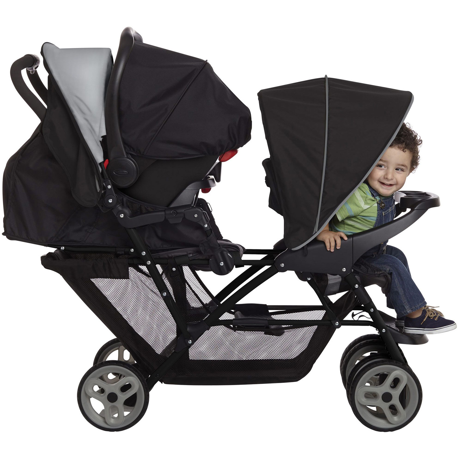 Graco Stadium Duo Double Pram Twin Travel System With 2 Snugride I Size Car Seat Bases Black Grey