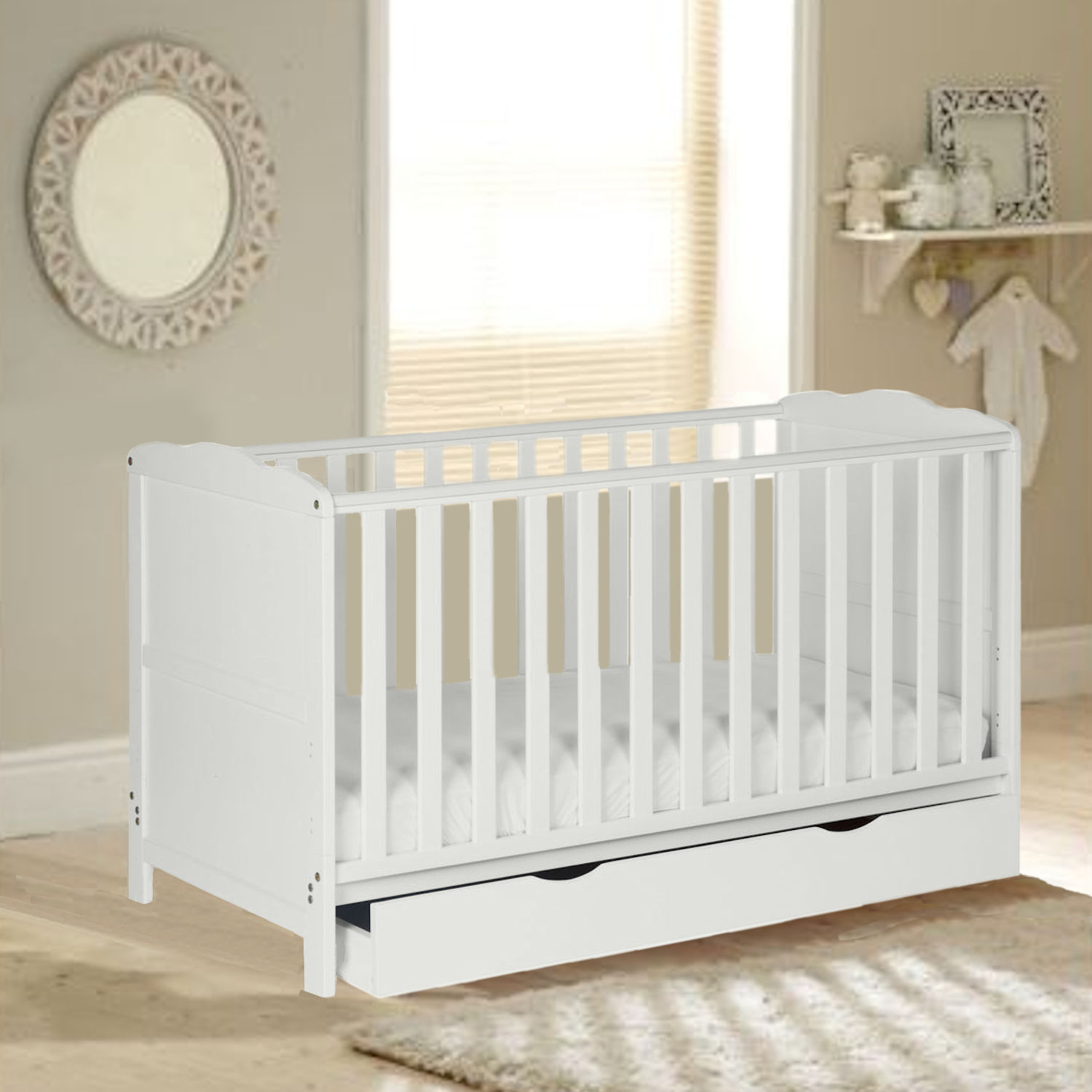 4Baby Little Acorns Classic Cot Bed 6pc Nursery Furniture ...