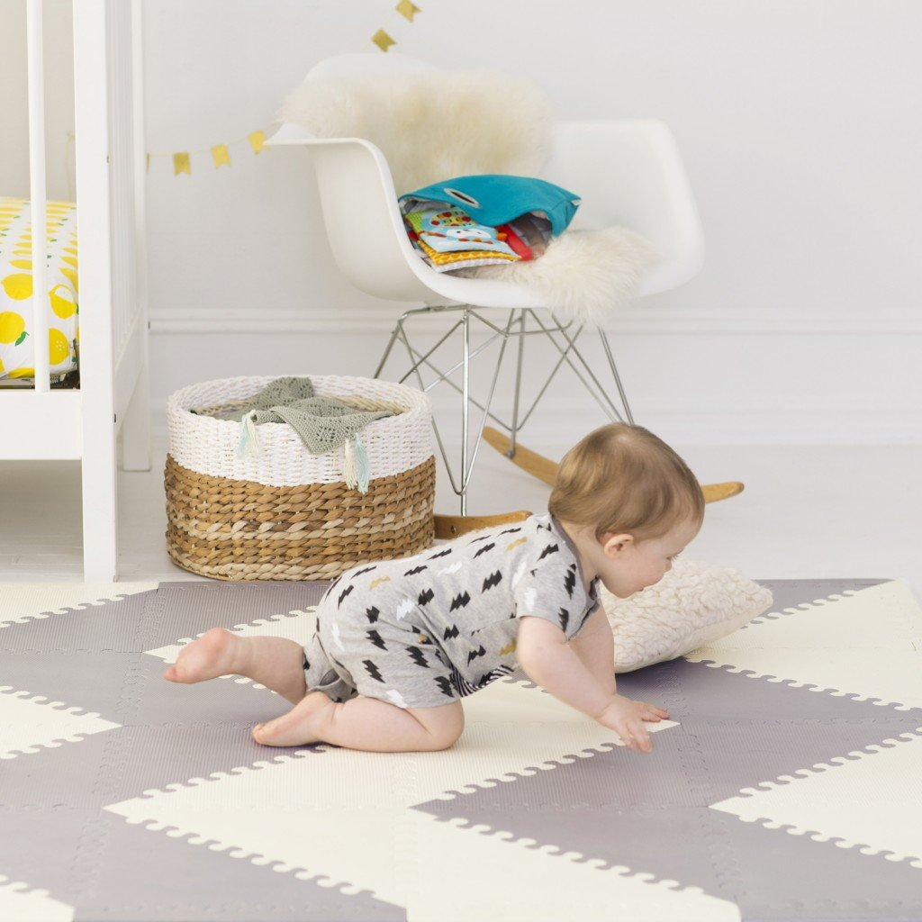 Skip Hop Interlocking Geo Foam Floor Tiles Grey Cream
