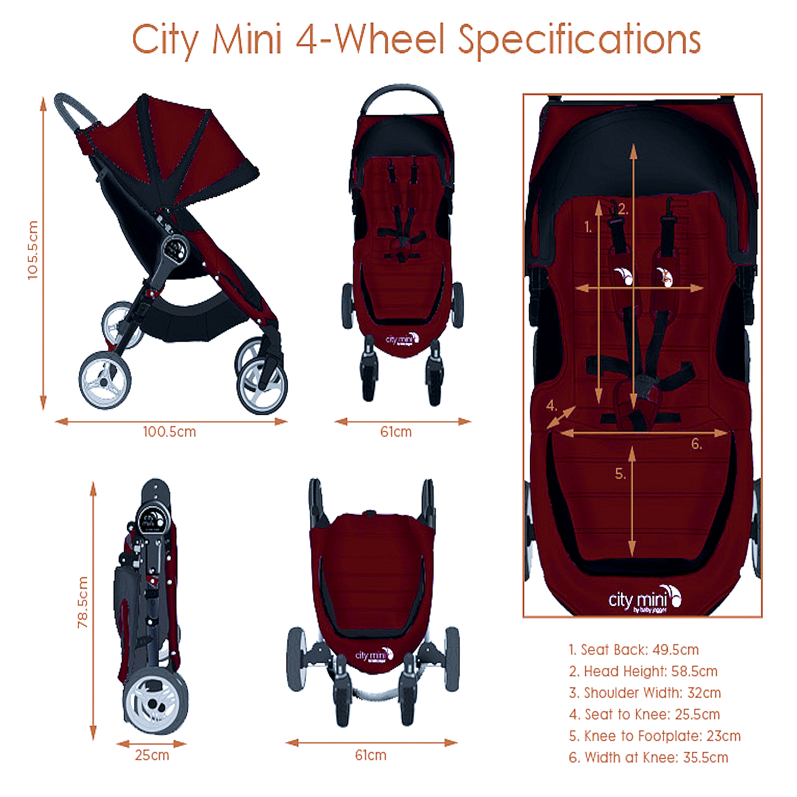 New Baby Jogger City Mini 4 Wheel Single Stroller Black