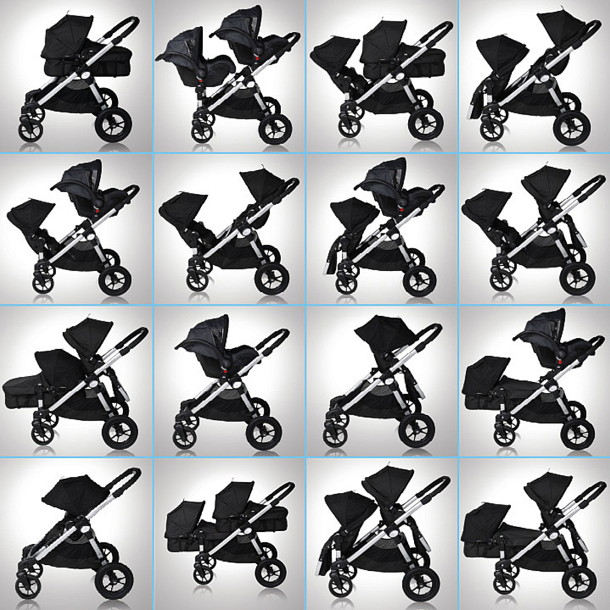 Baby Jogger City Select Tandem Pushchair With Footmuffs Raincovers Red