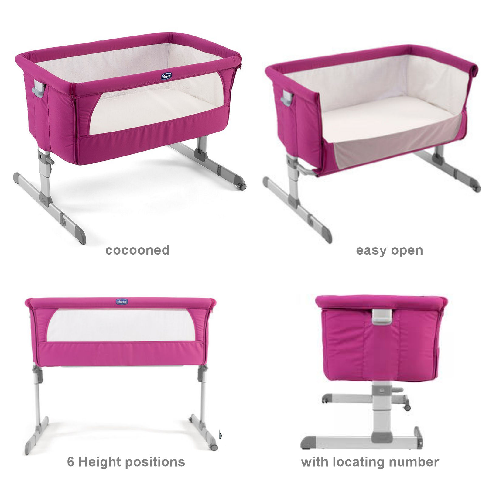 chicco luxury next 2 me crib fuchsia buy at online4baby. Black Bedroom Furniture Sets. Home Design Ideas