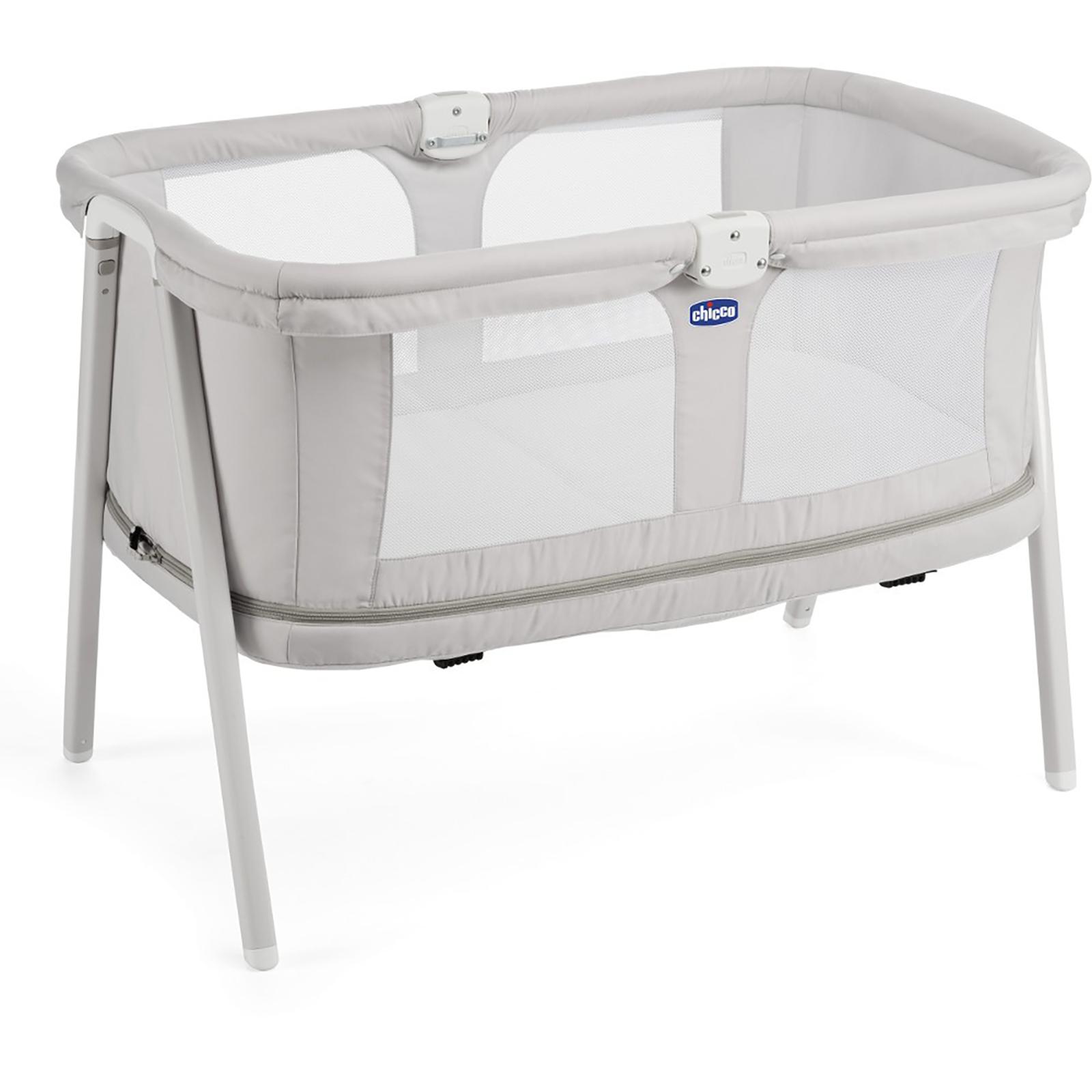 New Chicco Light Grey Lullago Zip Crib With Practical