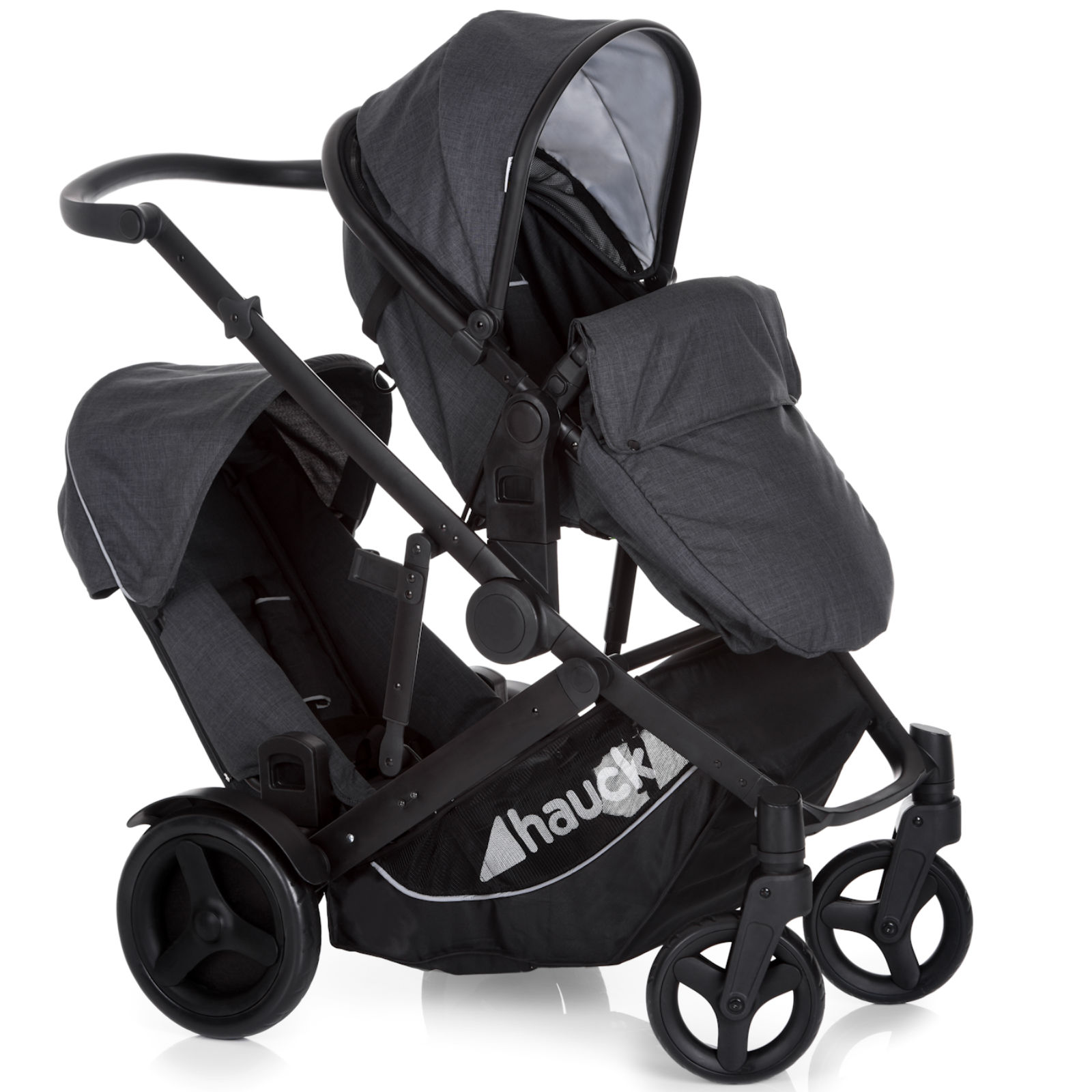hauck duett 3 tandem pushchair melange charcoal buy at. Black Bedroom Furniture Sets. Home Design Ideas