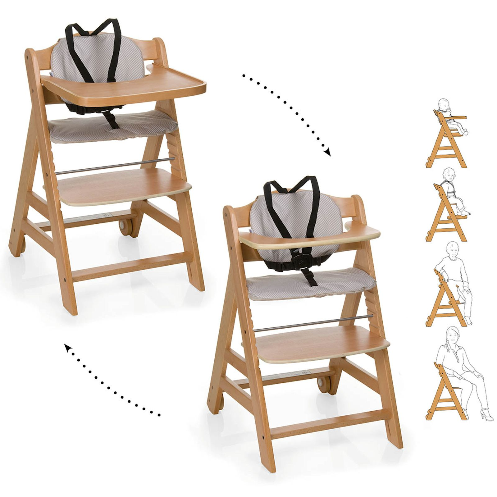 Hauck Beta Wooden Highchair Natural Buy At Online4baby