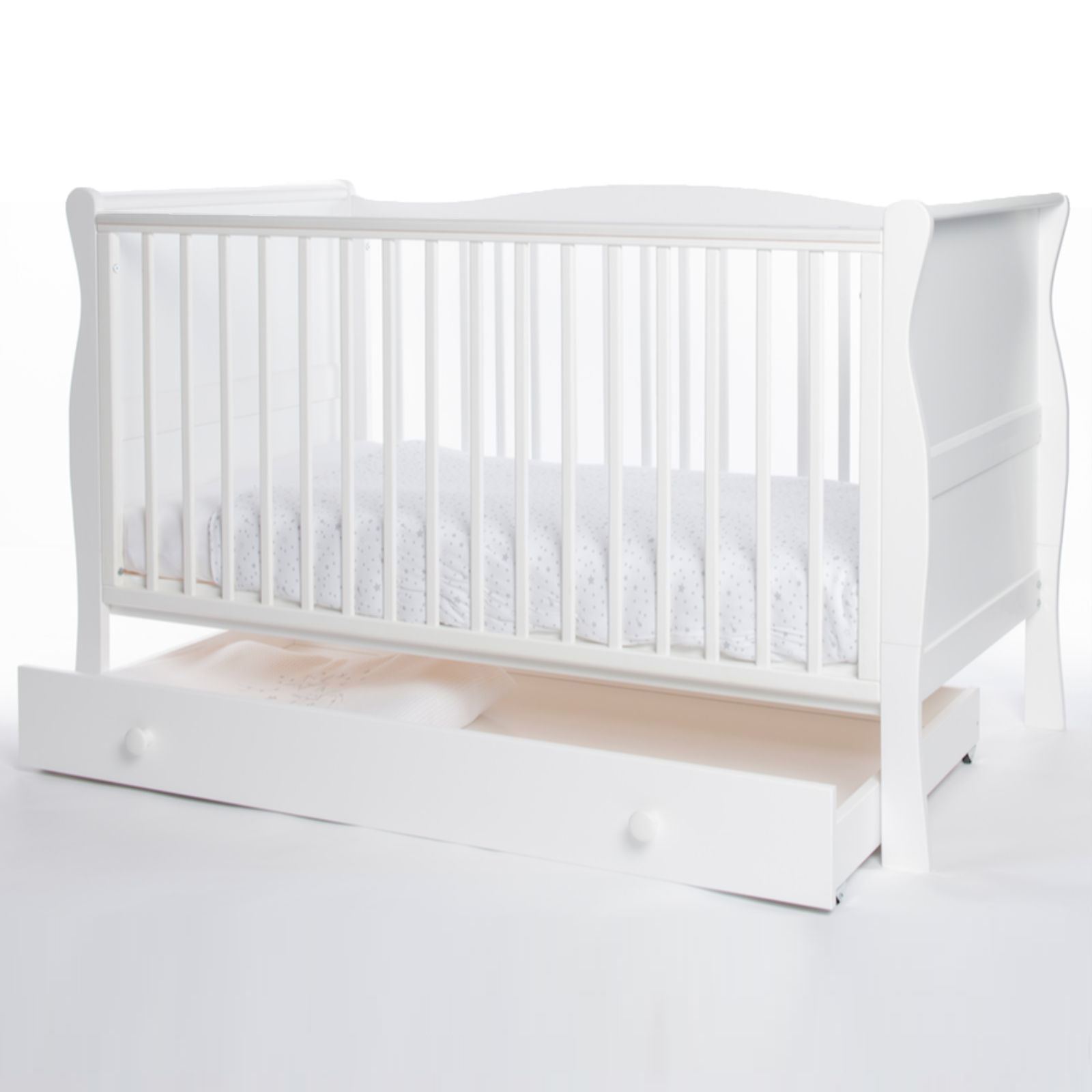 Little Acorns Sleigh Cot Bed With Drawer White Buy At