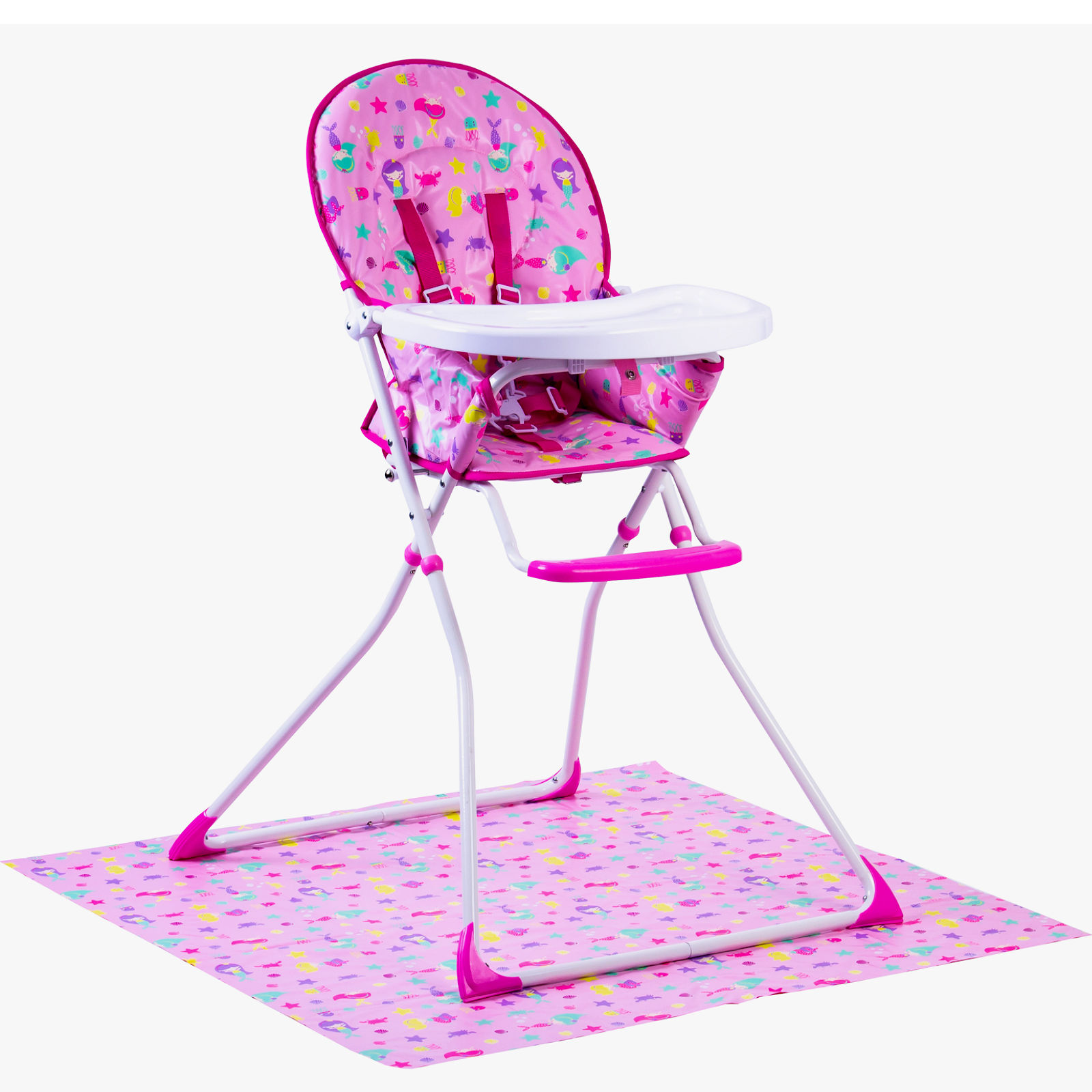 Terrific Red Kite Feed Me Compact Highchair Splash Mat Mermaid Dailytribune Chair Design For Home Dailytribuneorg