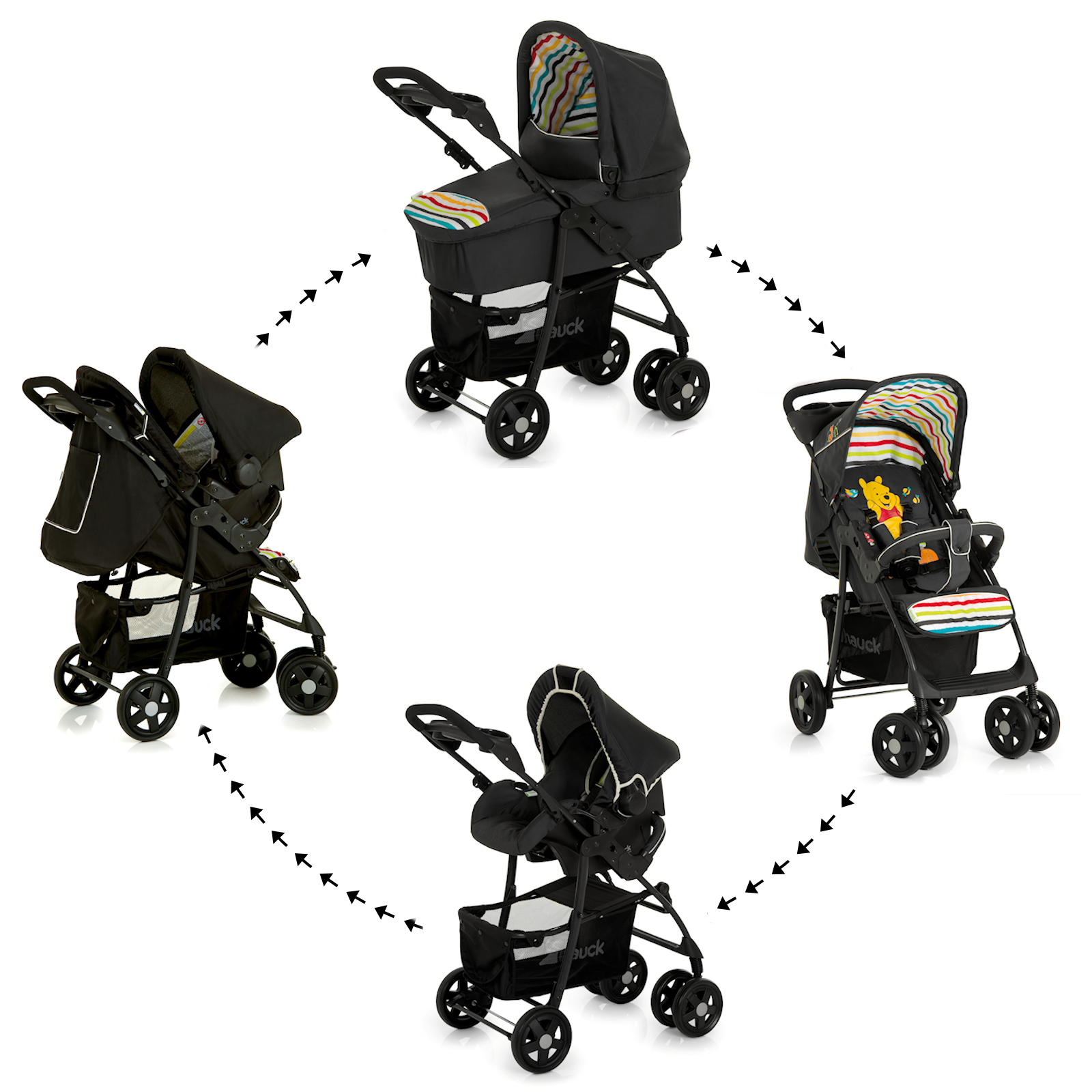 new hauck disney pooh tidy time shopper trio set travel system from birth ebay. Black Bedroom Furniture Sets. Home Design Ideas