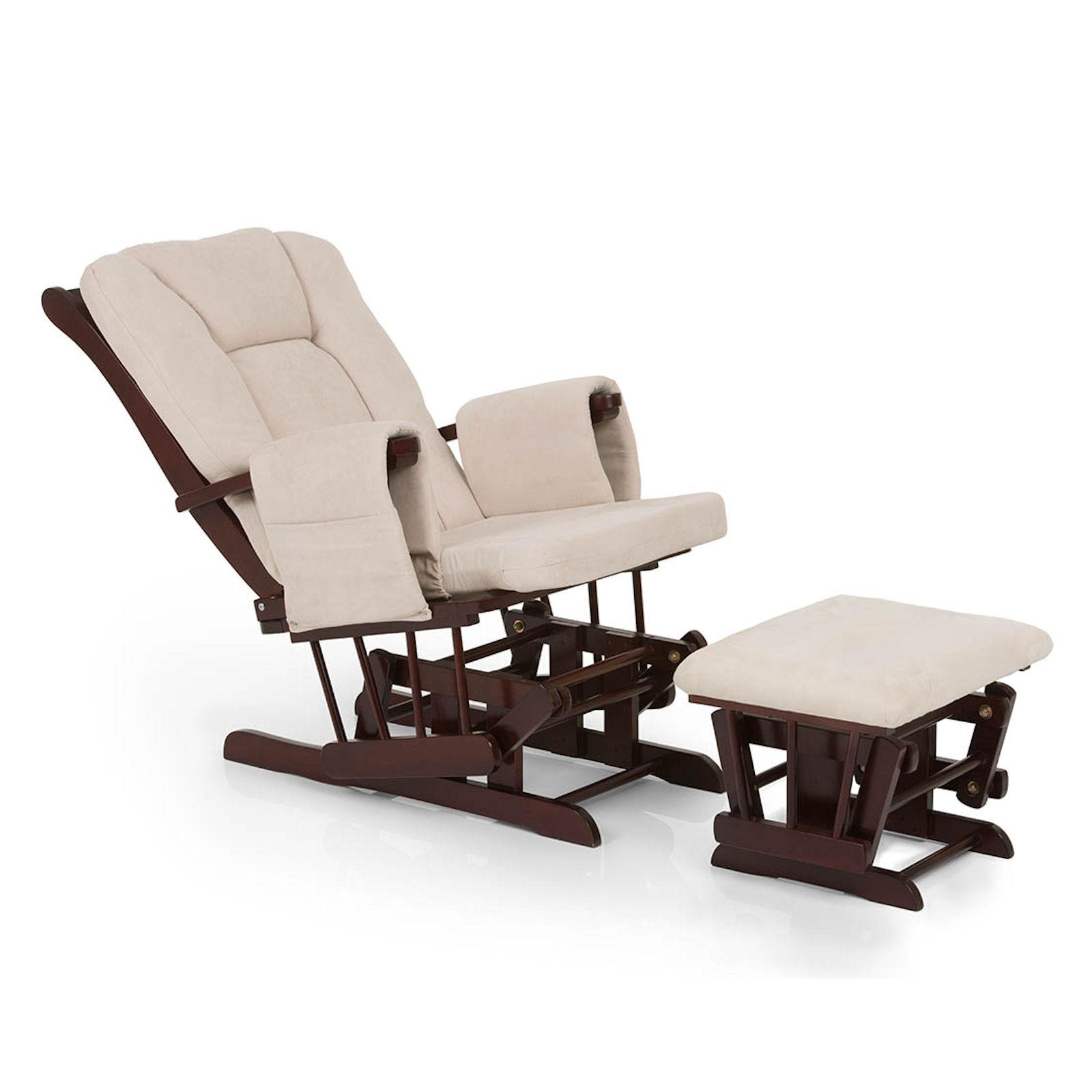Hauck Glider Deluxe Recline Nursing Chair & Stool Walnut Beige