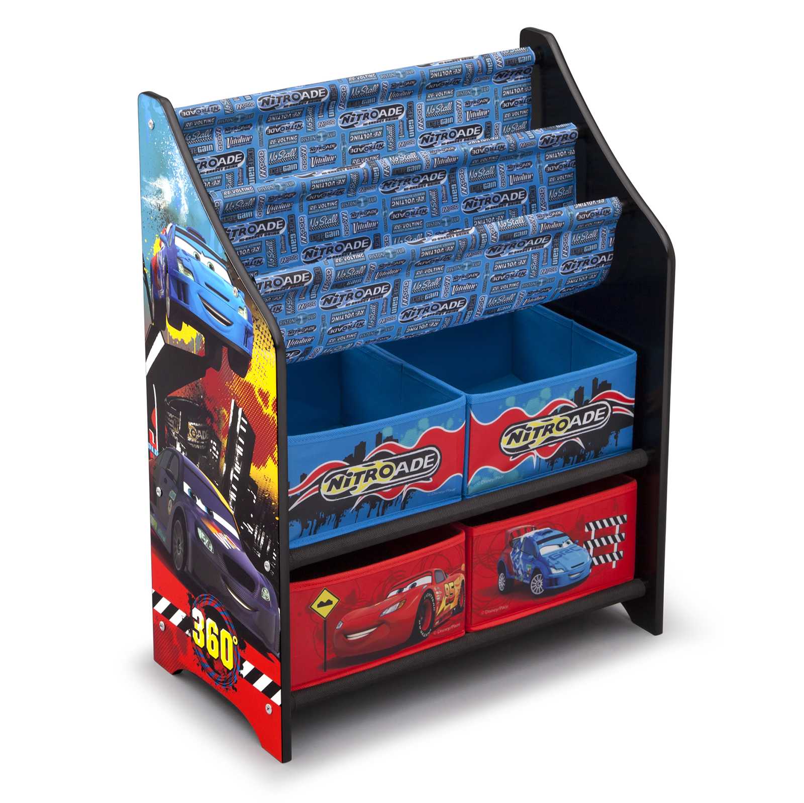 New delta children disney pixar cars wooden book toy for Toy and book storage