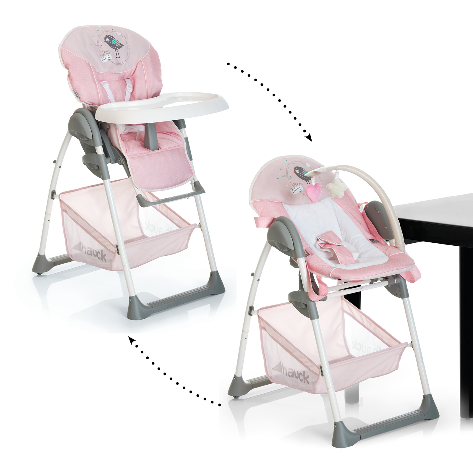 hauck sit n relax 2 in 1 highchair bouncer birdie buy at online4baby. Black Bedroom Furniture Sets. Home Design Ideas