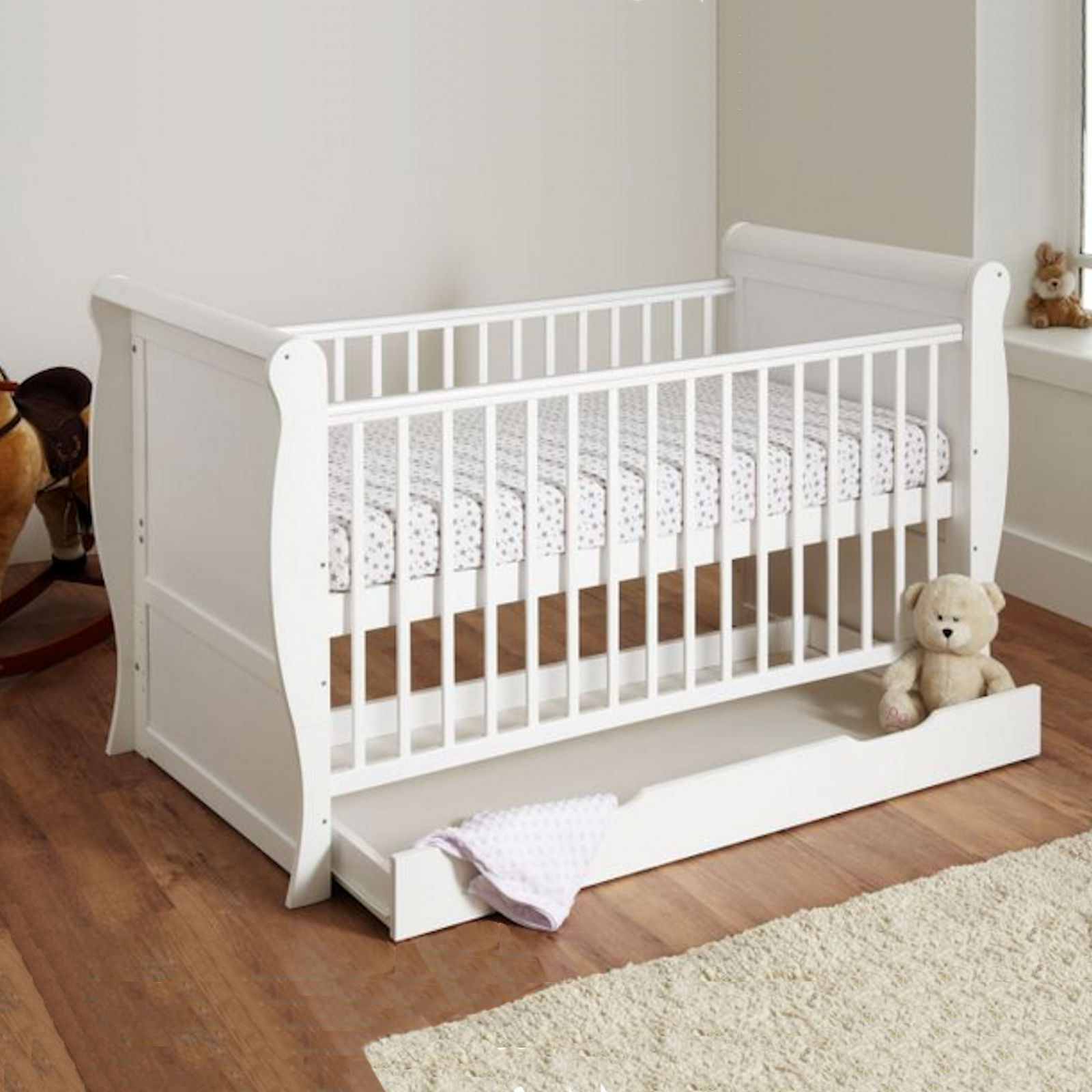 4Baby 3 in 1 Sleigh Cot Bed With Deluxe Foam Mattress ...
