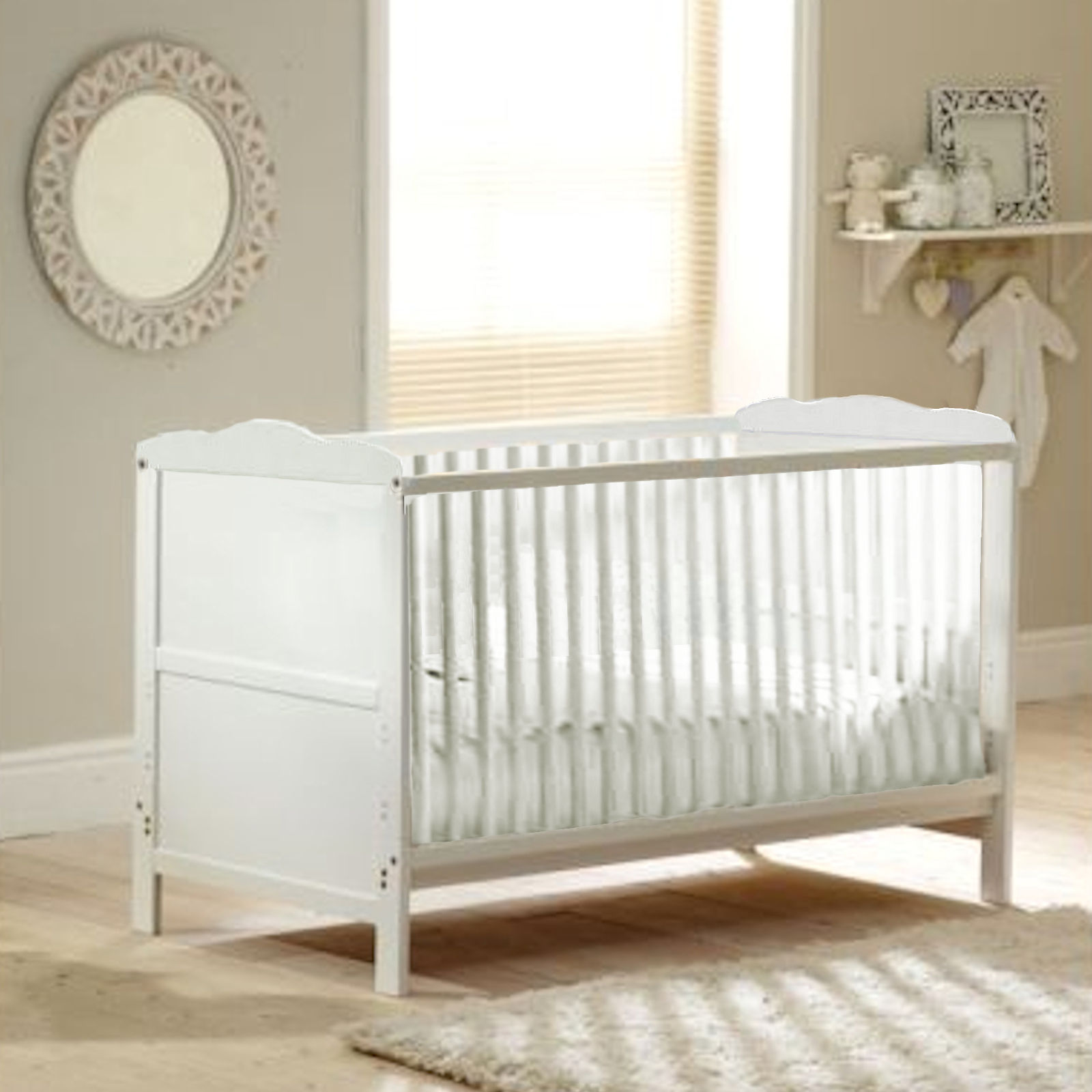4baby classic cot bed with luxury foam mattress - white | buy at