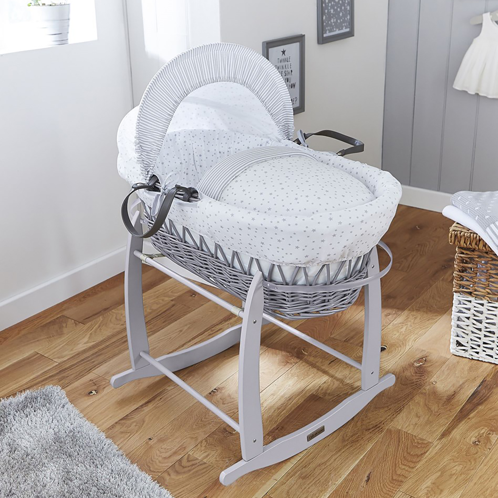 Clair De Lune Deluxe Padded Grey Wicker Moses Basket