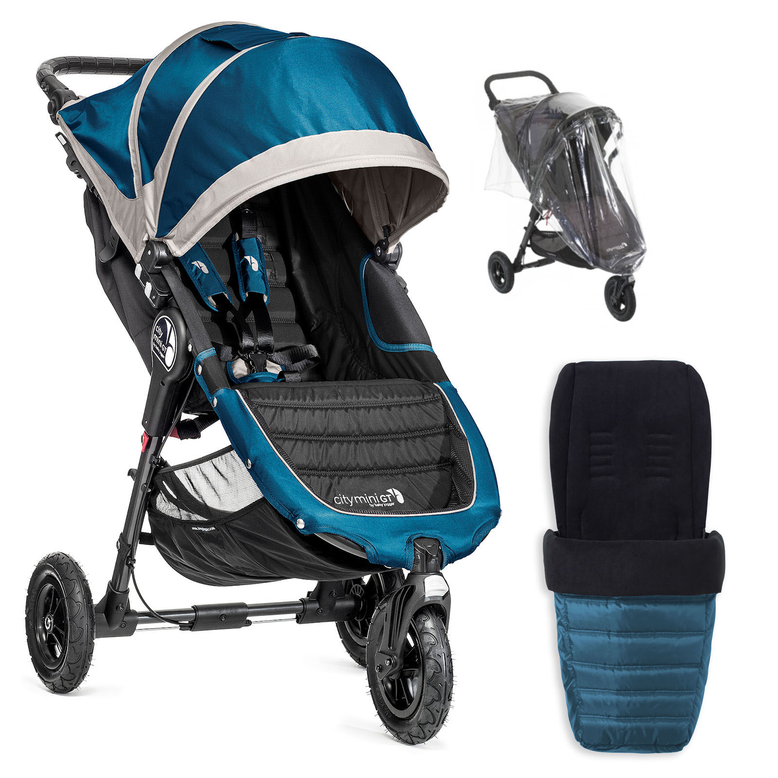 Baby Jogger City Mini GT Single Stroller With Footmuff & Raincover - Teal | Buy at Online4baby