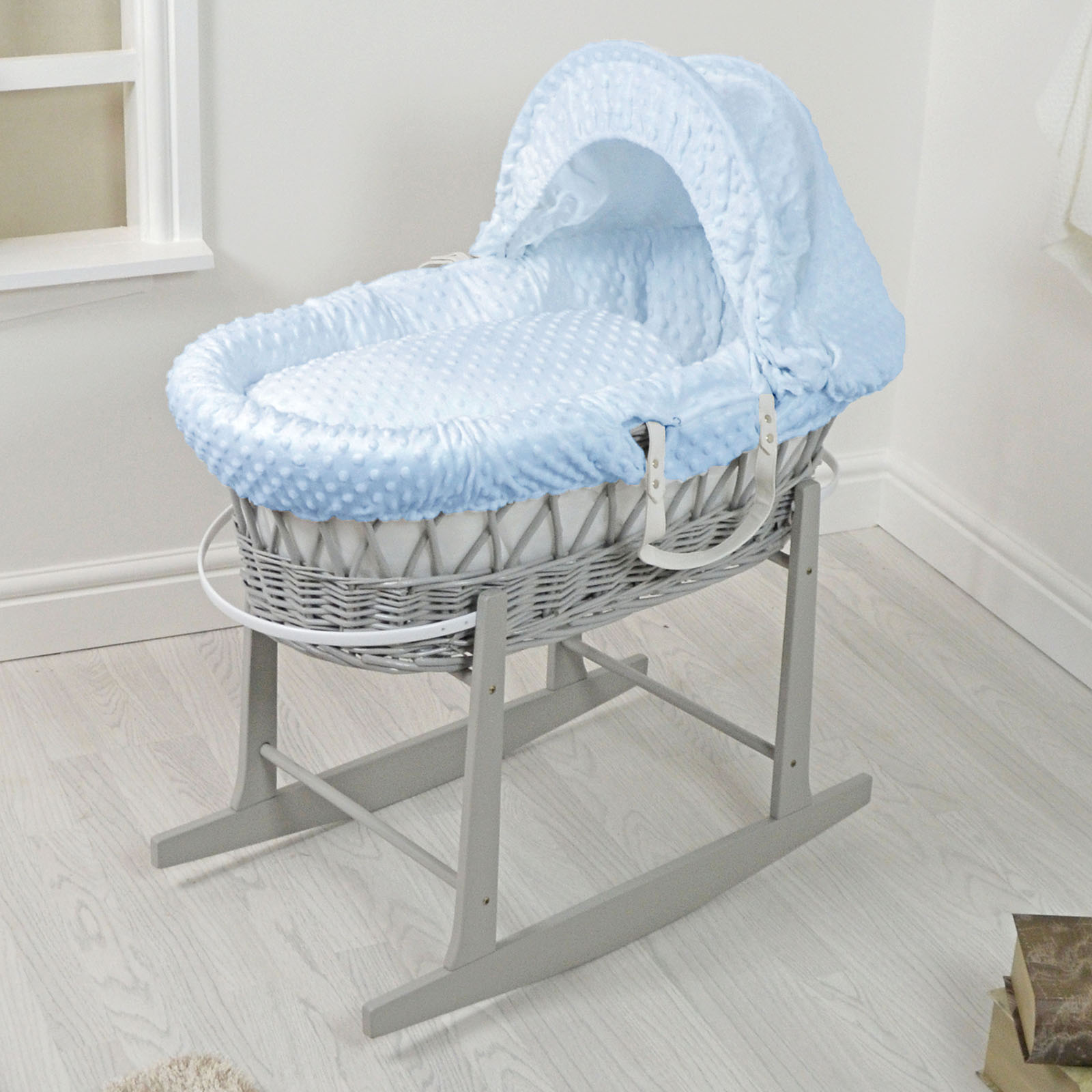 4baby Padded Grey Wicker Moses Basket Amp Rocking Stand