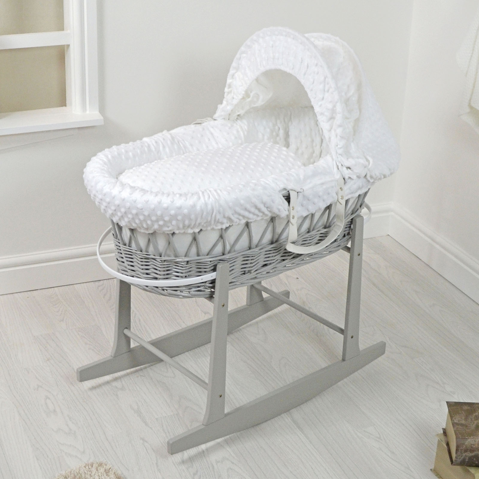 4baby padded grey wicker moses basket rocking stand. Black Bedroom Furniture Sets. Home Design Ideas