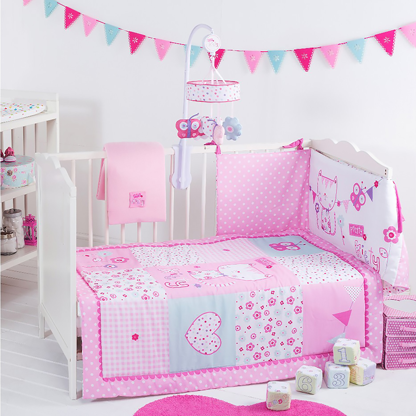 red kite 4 piece pretty kitty cosi cot cot bed bedding. Black Bedroom Furniture Sets. Home Design Ideas
