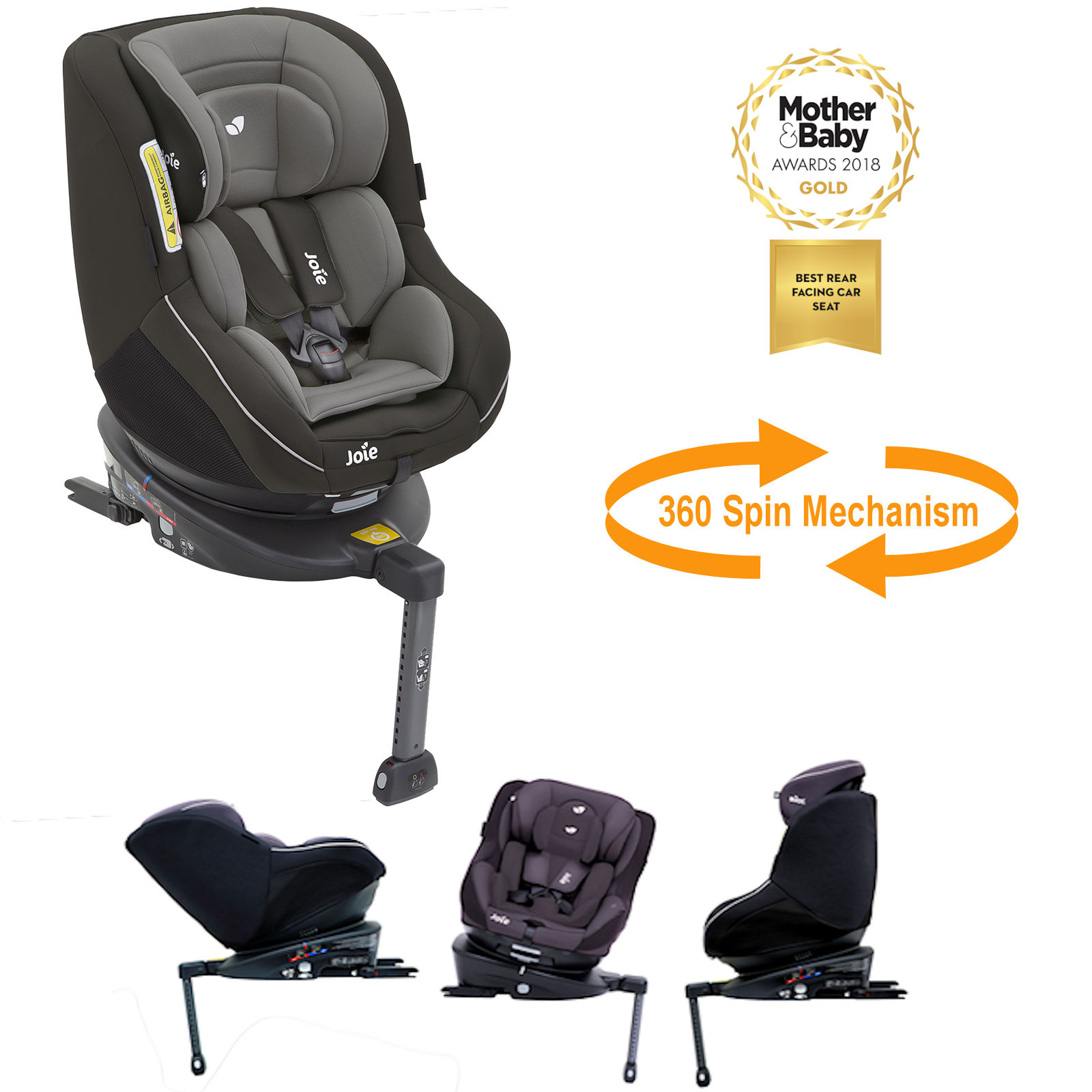 Joie Spin 360 Group 0+/1 Isofix Car Seat - Dark Pewter | Buy at ...