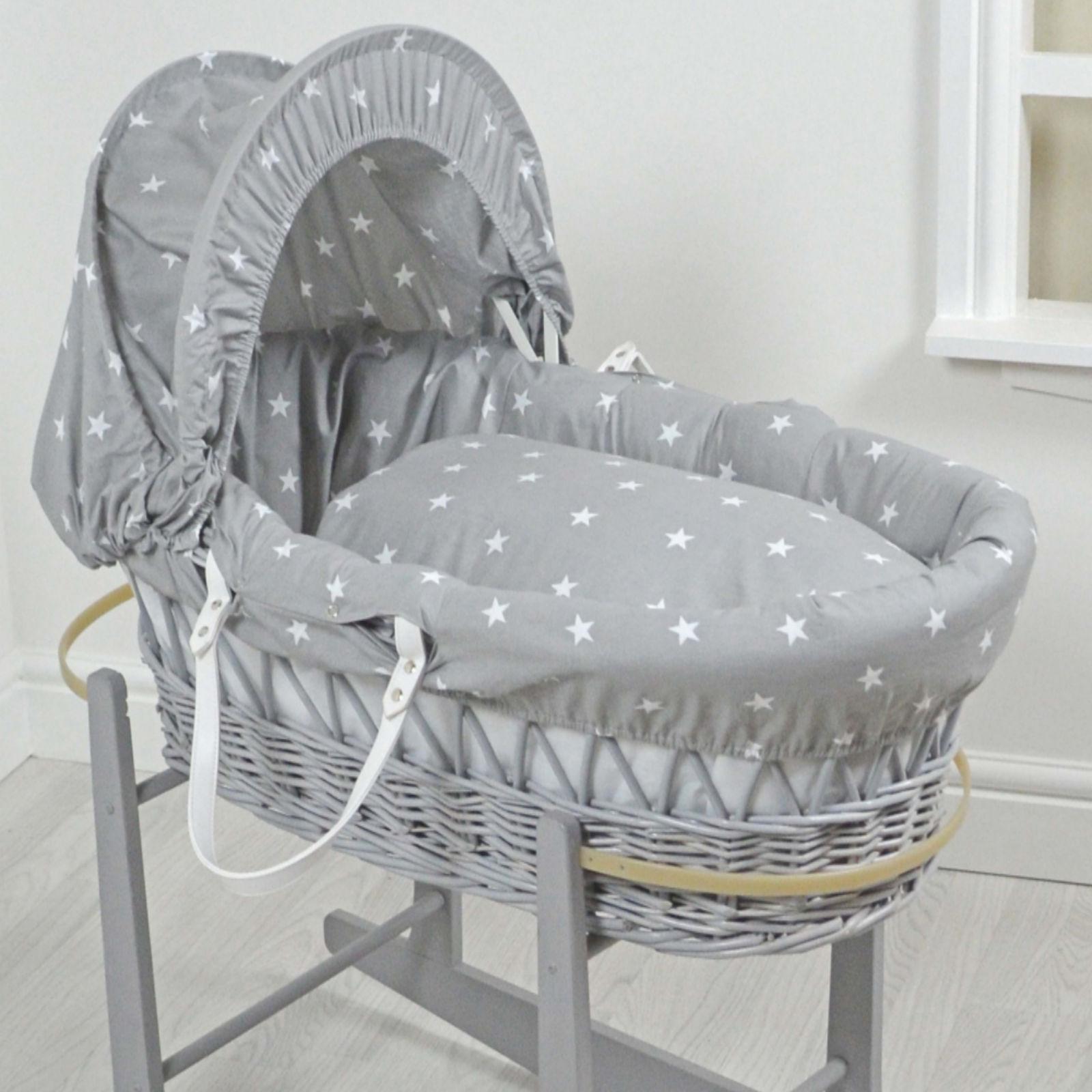 4baby Padded Grey Wicker Baby Moses Basket Grey White