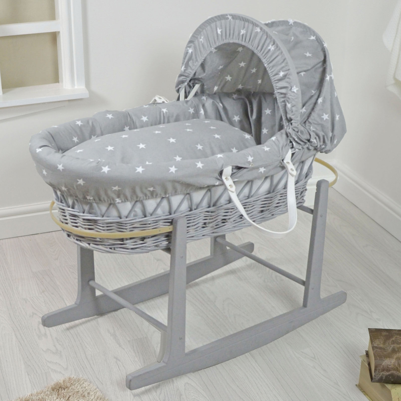 4baby Padded Grey Wicker Baby Moses Basket Amp Rocking Stand