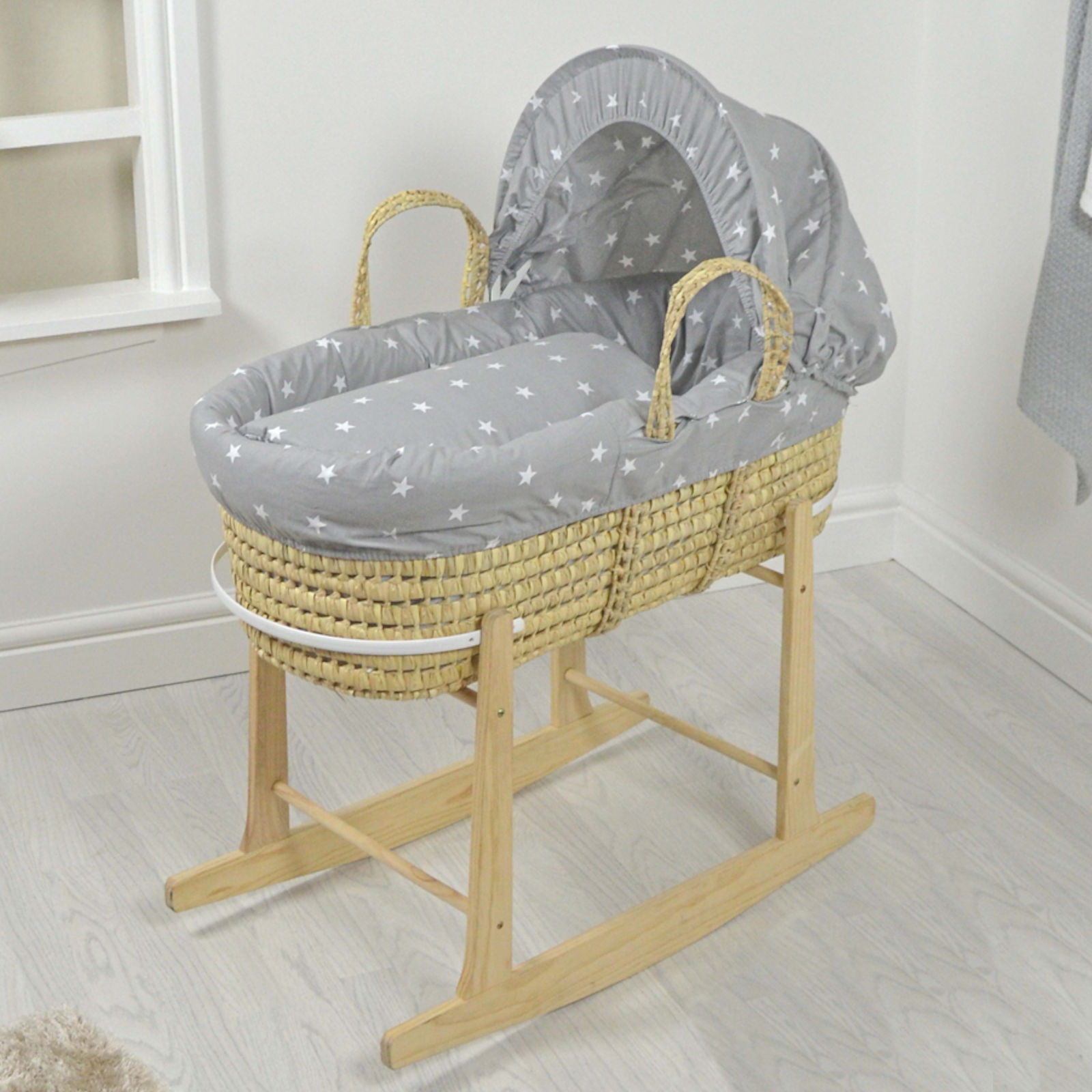 4baby deluxe palm moses basket rocking stand grey. Black Bedroom Furniture Sets. Home Design Ideas
