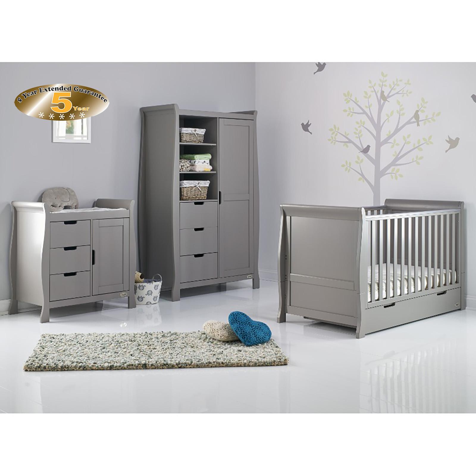 Incroyable Obaby Stamford Classic Sleigh 3 Piece Nursery Room Set   Taupe Grey