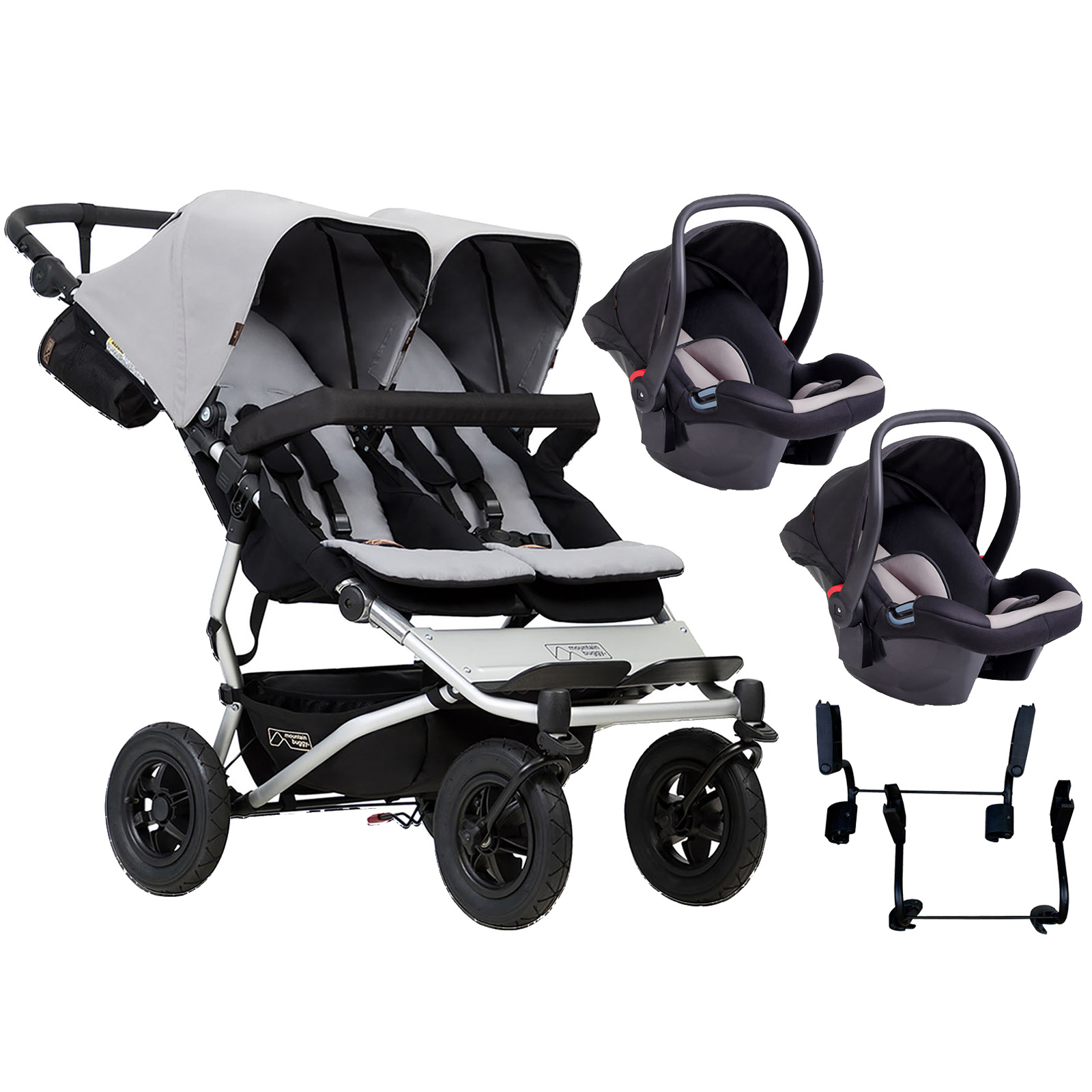 Mountain Buggy Duet V3 Double Travel System - Silver