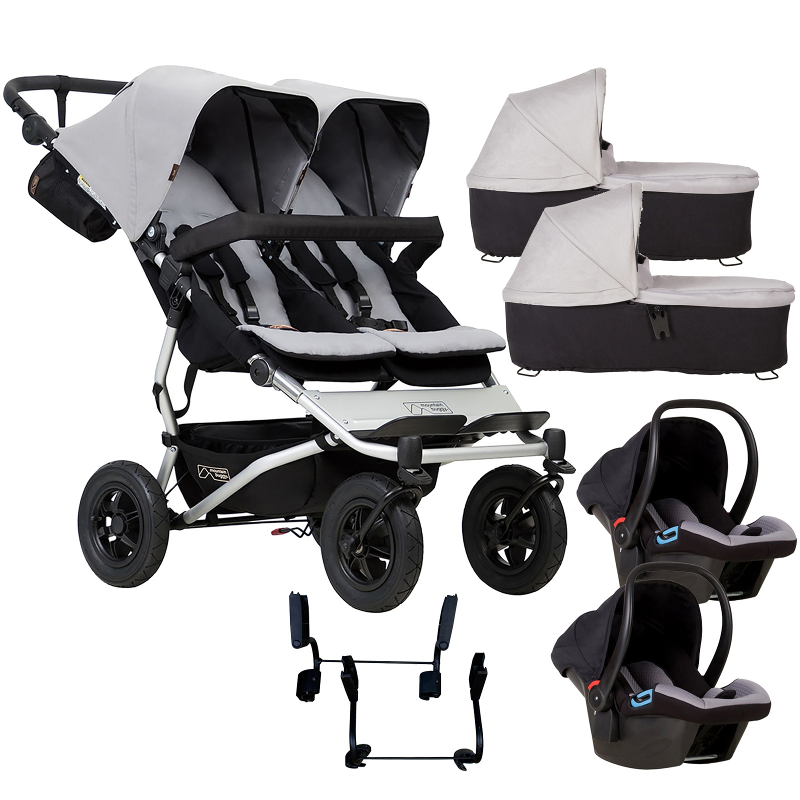 Mountain Buggy Duet V3 Double Travel System & 2 Carrycots - Silver