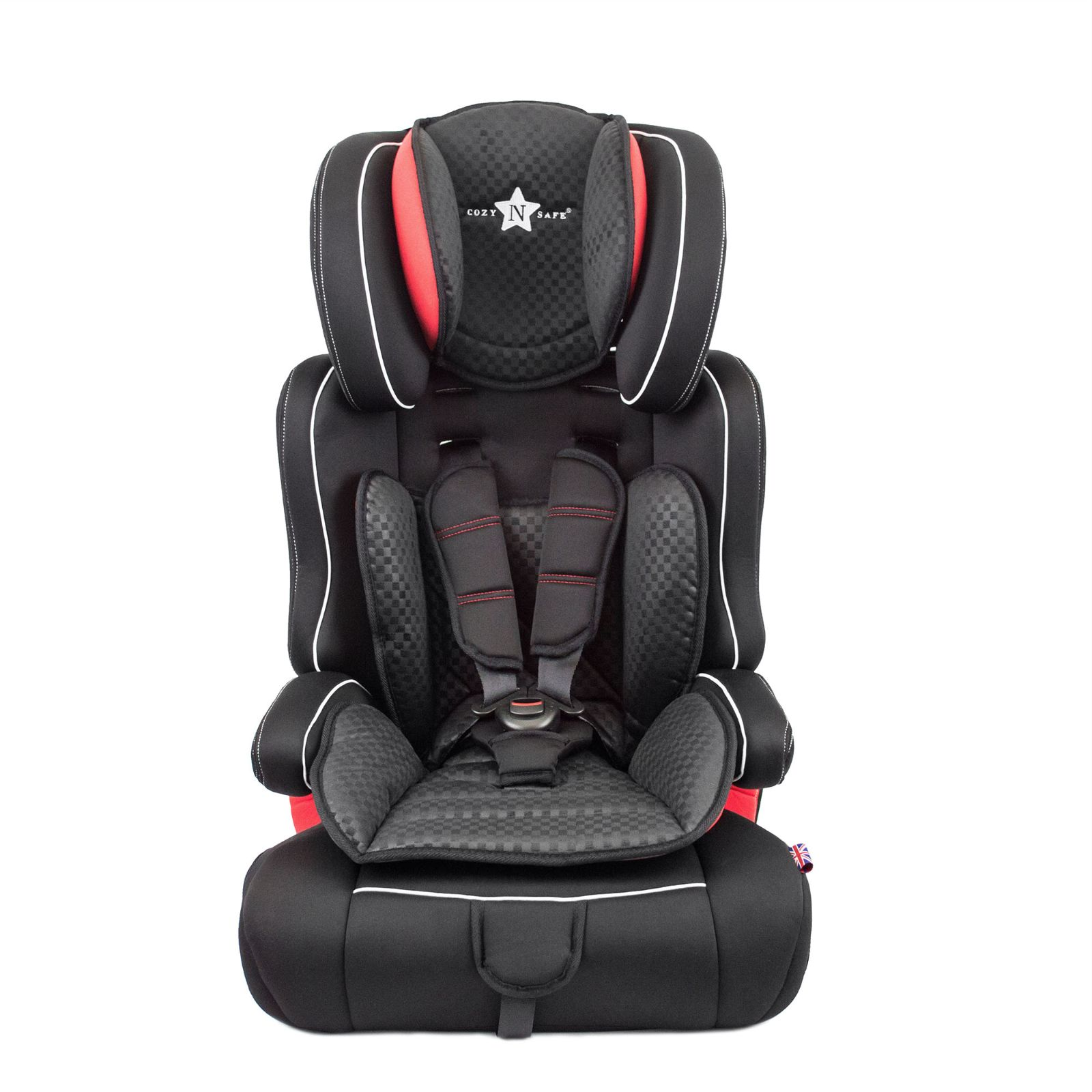 cozy n safe everest group 1 2 3 car seat black red buy at online4baby. Black Bedroom Furniture Sets. Home Design Ideas