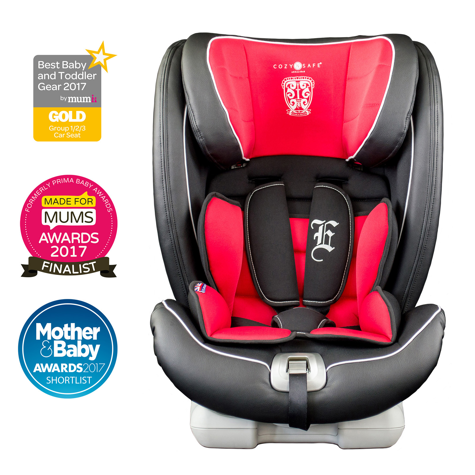 cozy n safe excalibur group 1 2 3 isofix car seat black red buy at online4baby. Black Bedroom Furniture Sets. Home Design Ideas