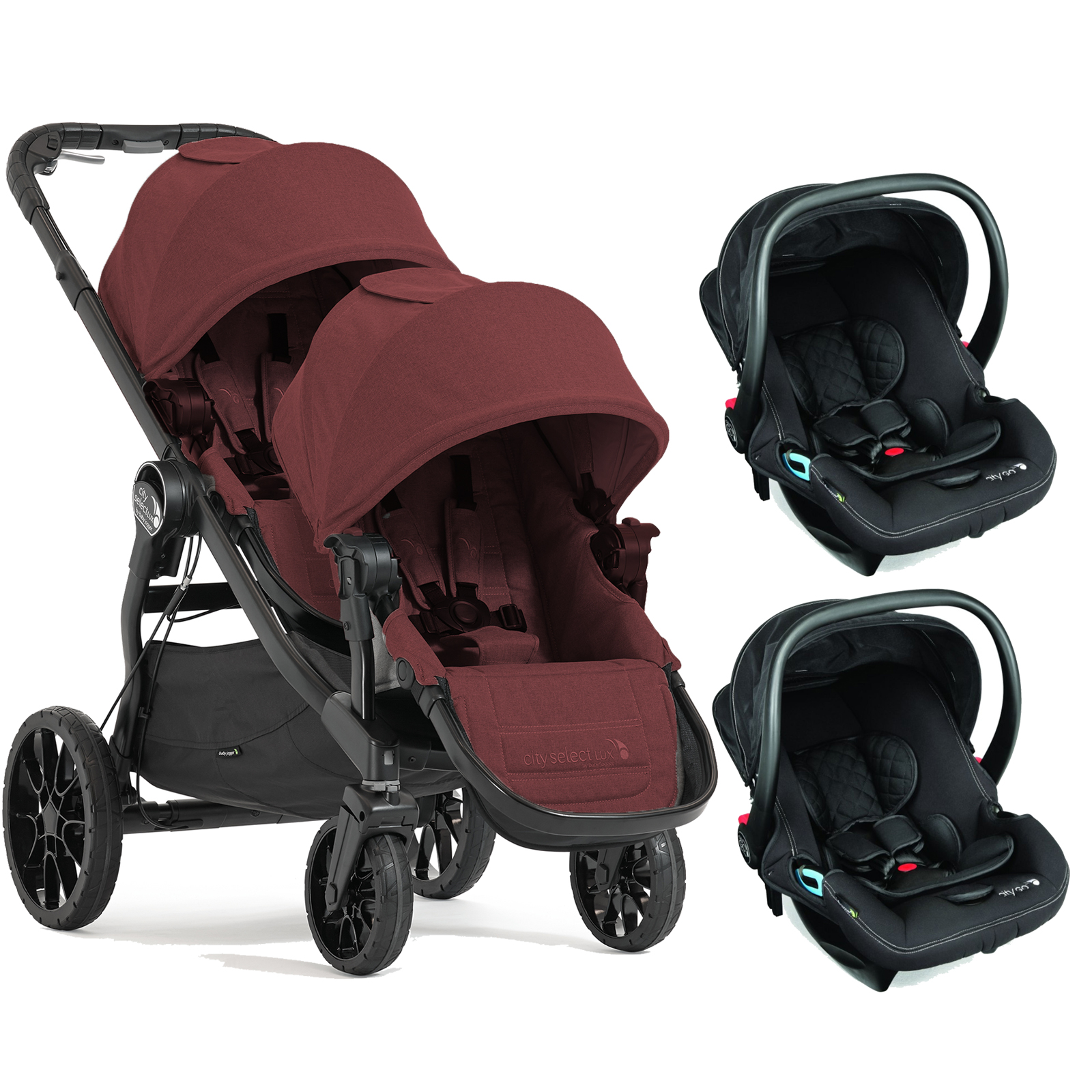 Baby Jogger City Select LUX Tandem Double Travel System (x2 Car Seat ...