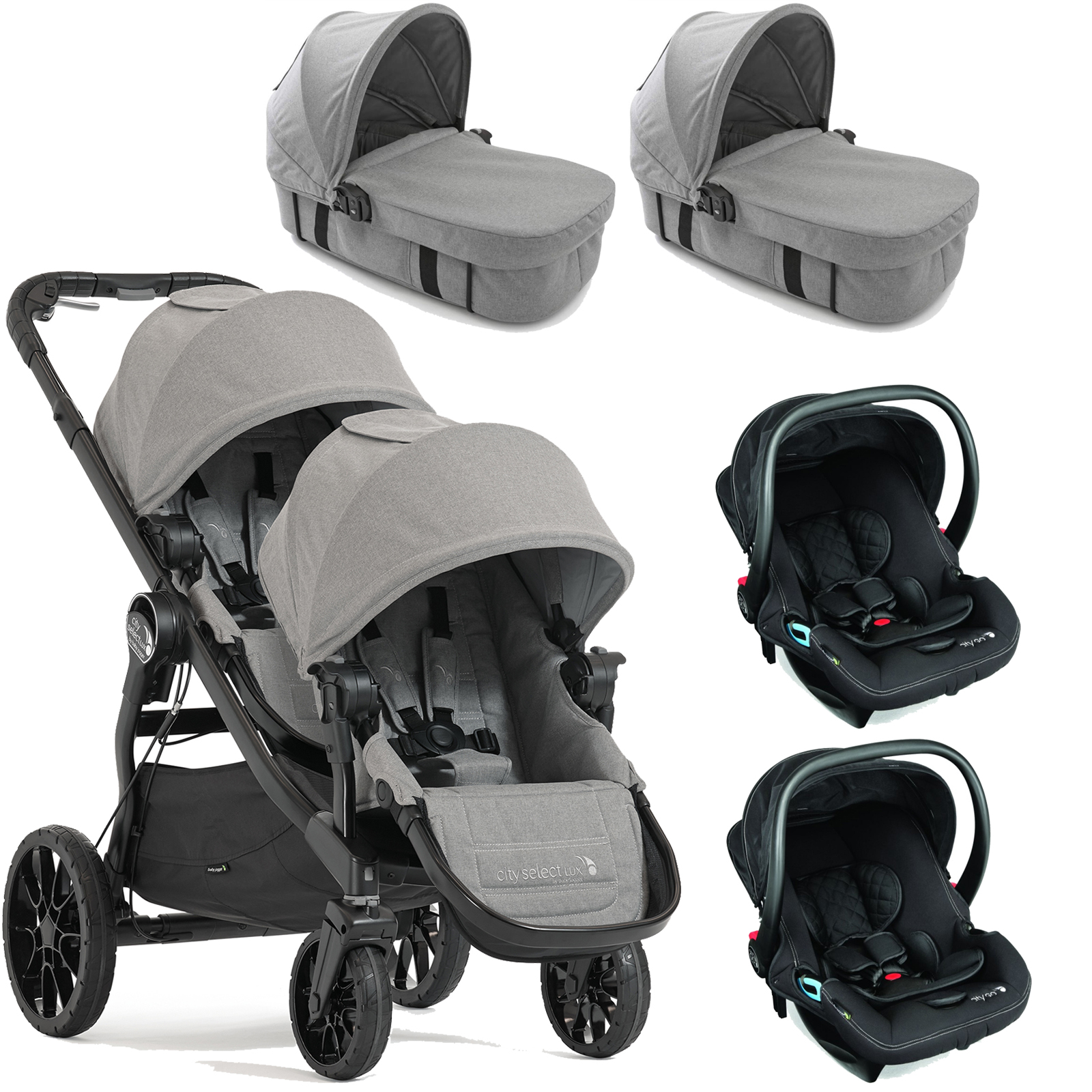 Baby Jogger City Select LUX Tandem Travel System & Carrycots (x2 Car ...