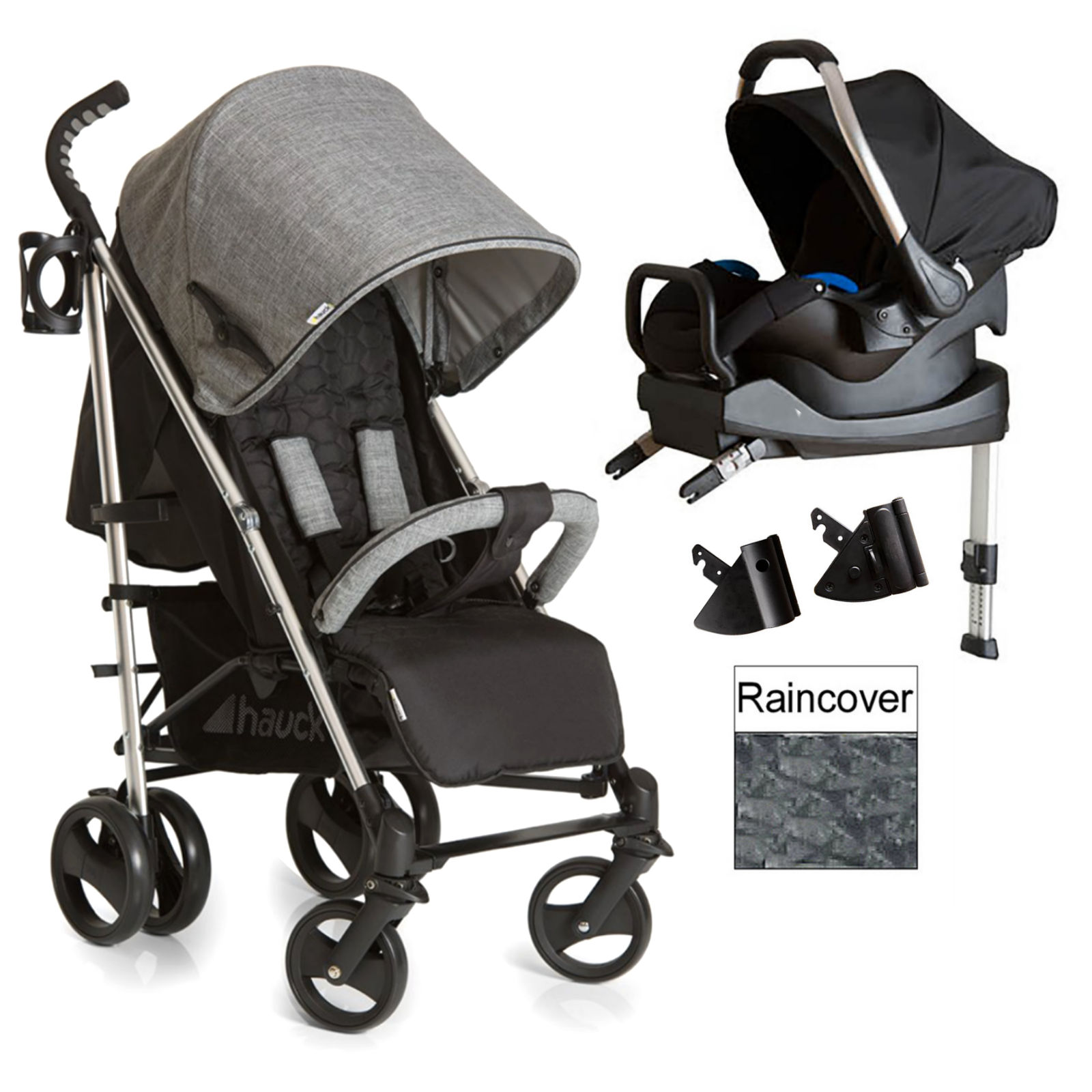 hauck vegas travel system isofix base melange grey. Black Bedroom Furniture Sets. Home Design Ideas