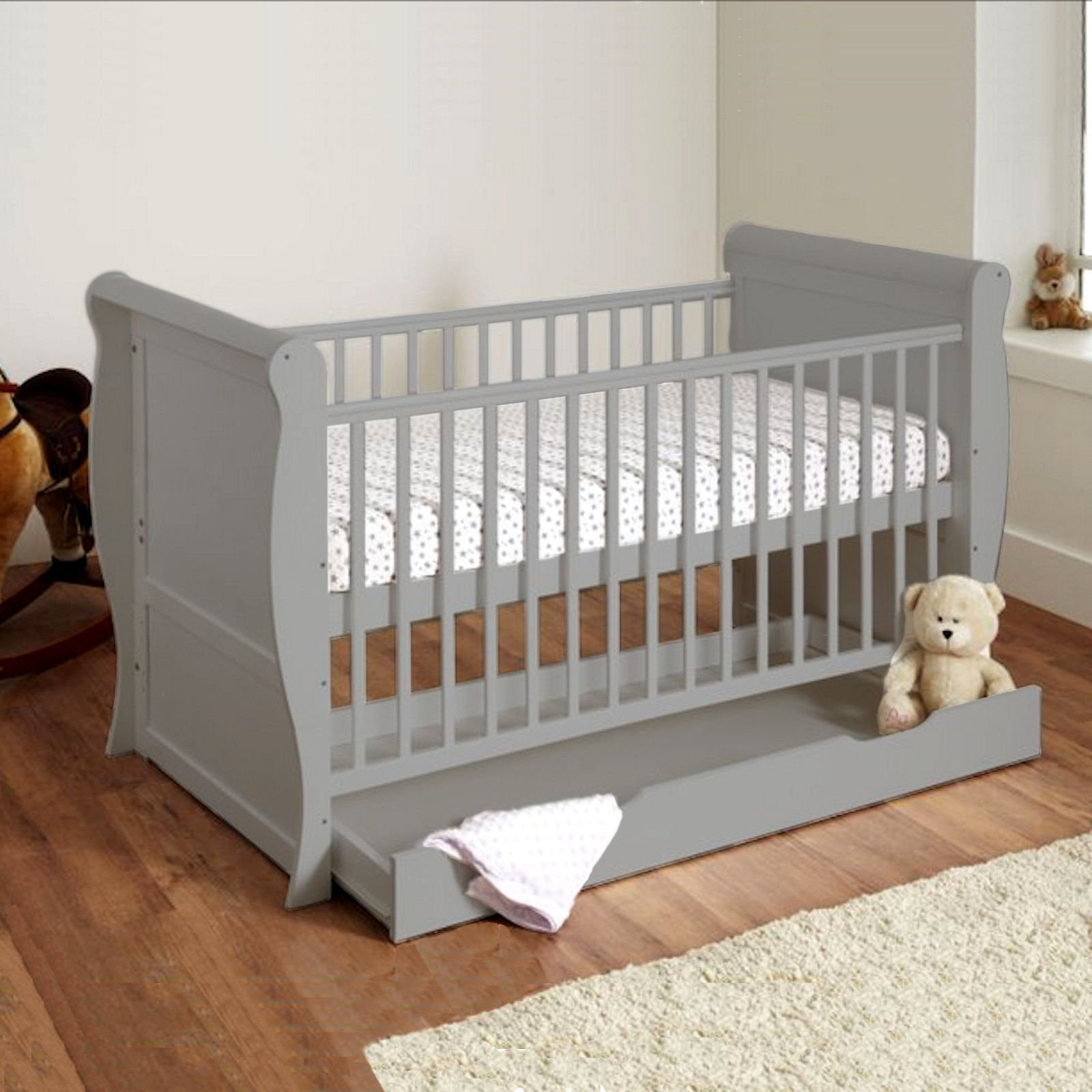 4Baby Sleigh Deluxe Cot Bed With Storage Drawer & Maxi Air ...