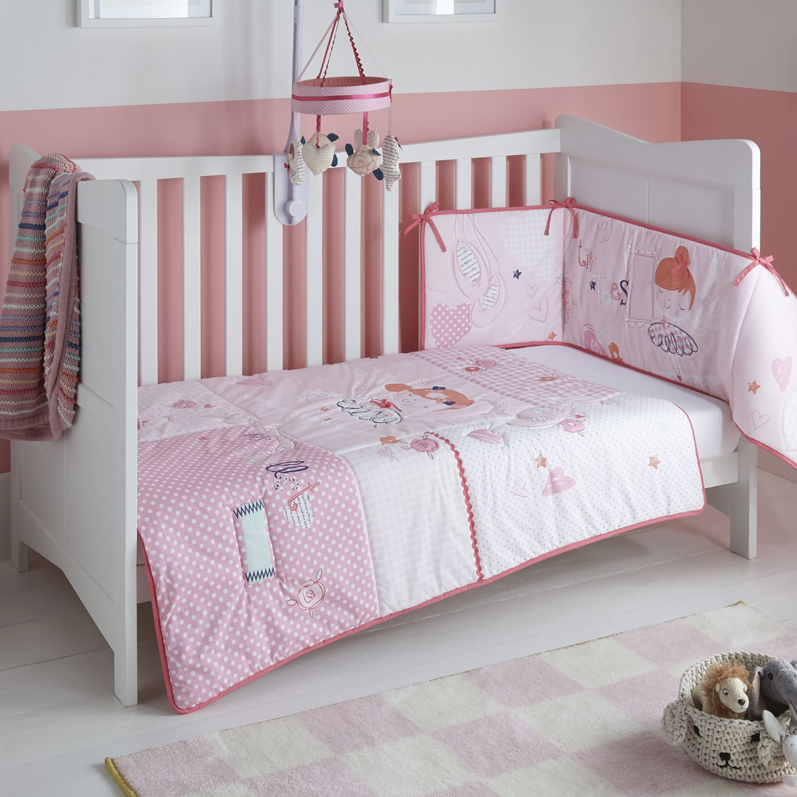 Clair De Lune Cot Cot Bed Quilt Bumper Set Tippy Toes Pink Buy At Online4baby