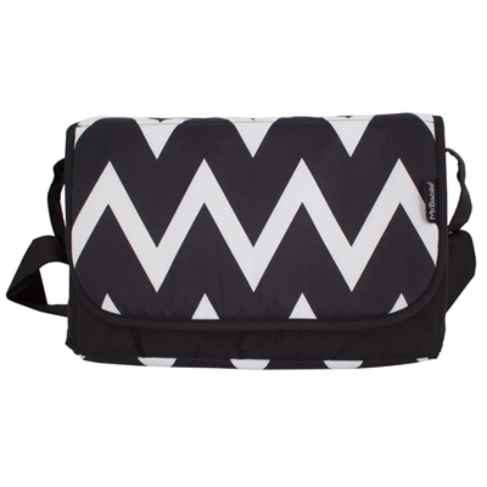 e59ca2d57d41a My Babiie Changing Bag - Black & White Chevron | Buy at Online4baby