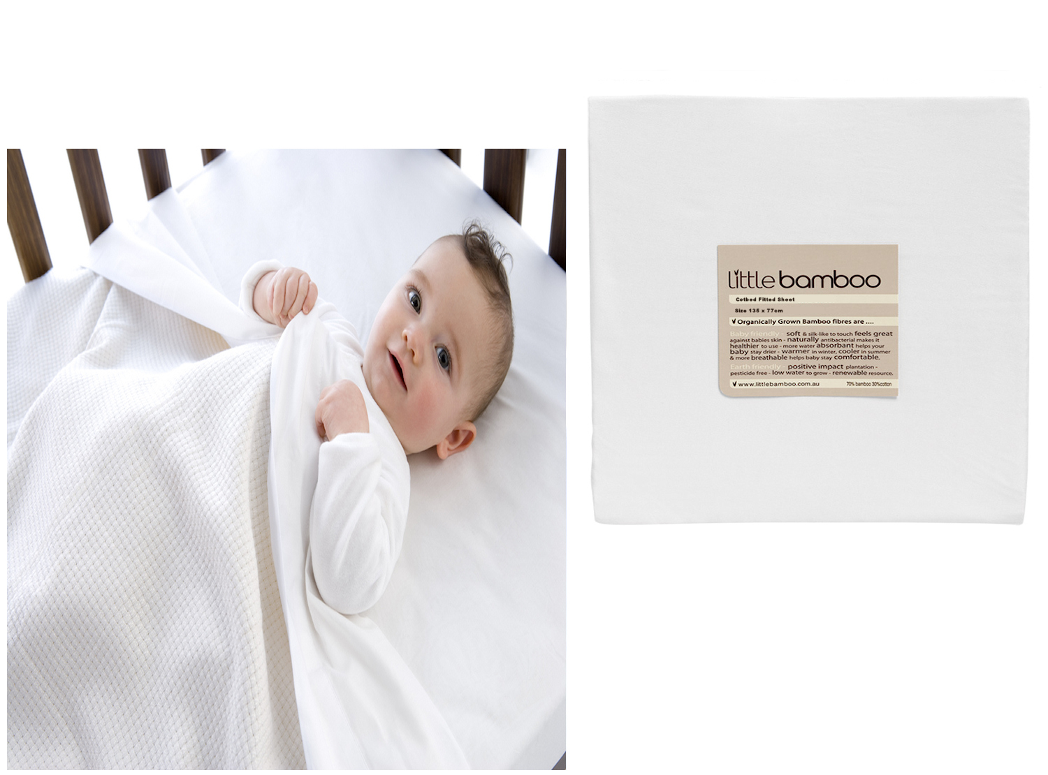 Little Bamboo Cot / Cotbed Fitted Sheet   Natural White