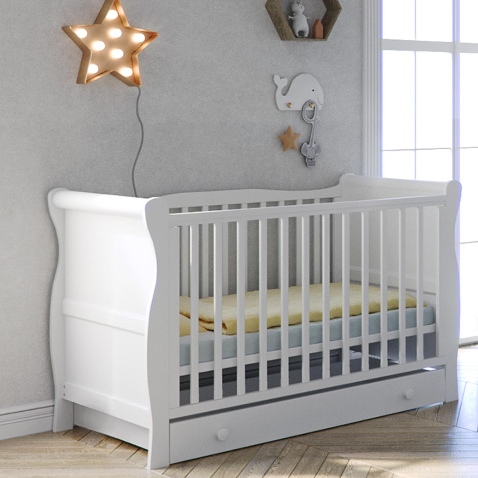 - Little Acorns Sleigh Cot Bed With Drawer - White Buy At Online4baby