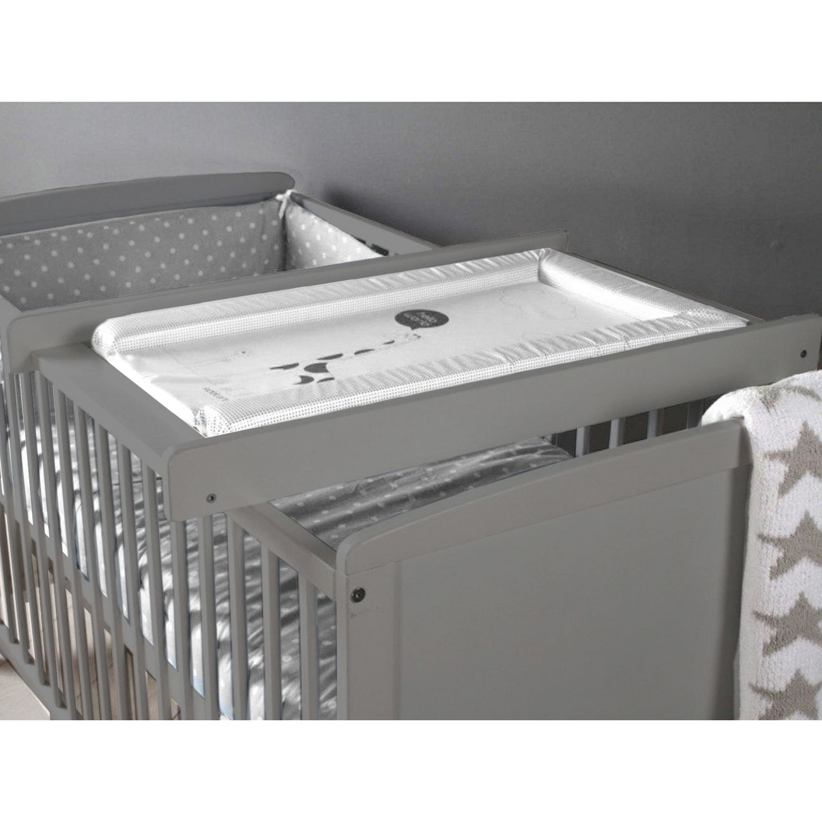 little acorns cot top changer grey buy at online4baby. Black Bedroom Furniture Sets. Home Design Ideas