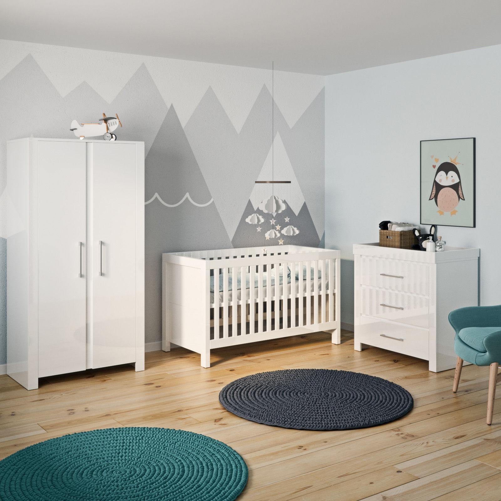 Little Acorns Luxury Snow High Gloss 4 Piece Nursery Room