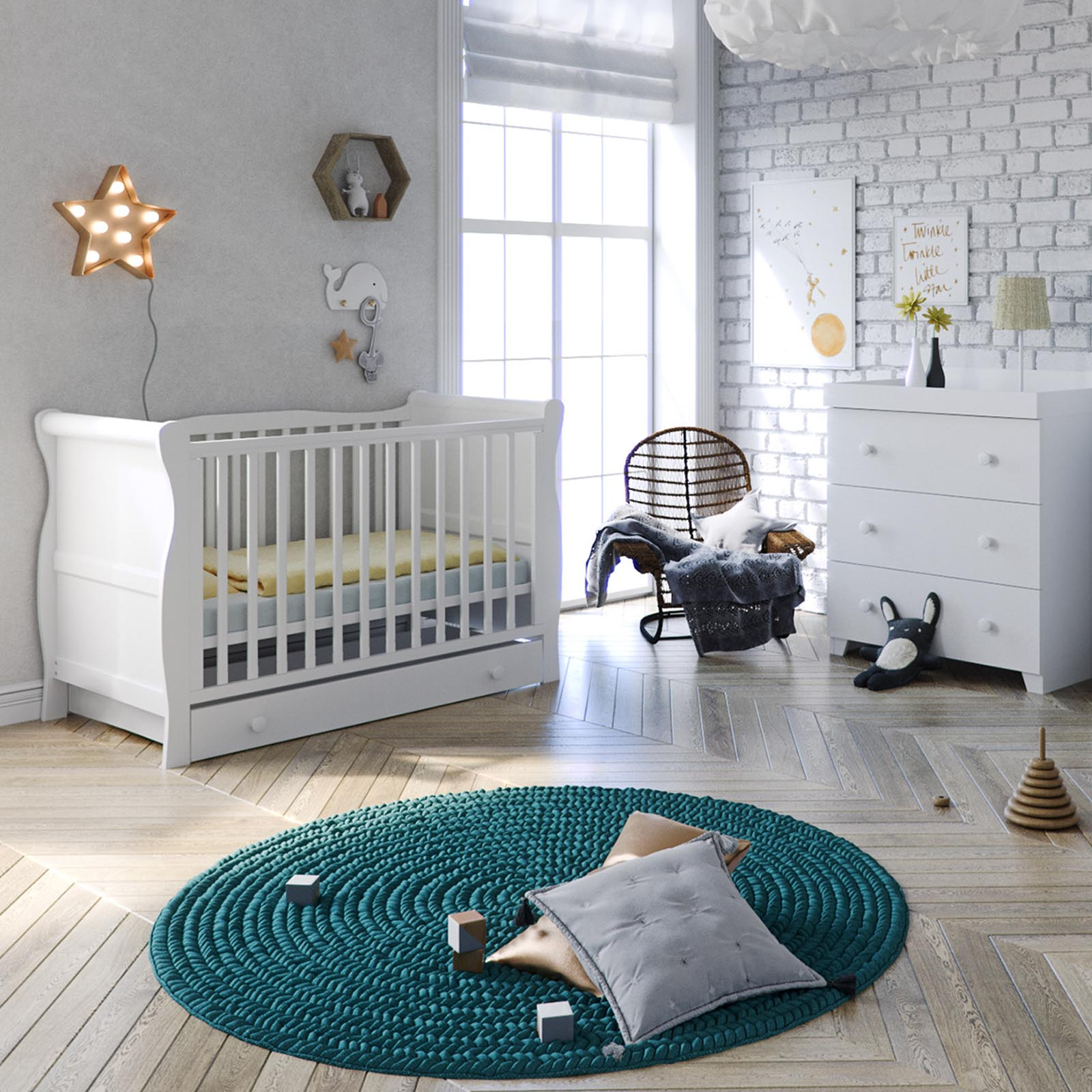 Little Acorns Sleigh Cot Bed 4 Piece Nursery Room Set Cotbed Drawer With Dresser White