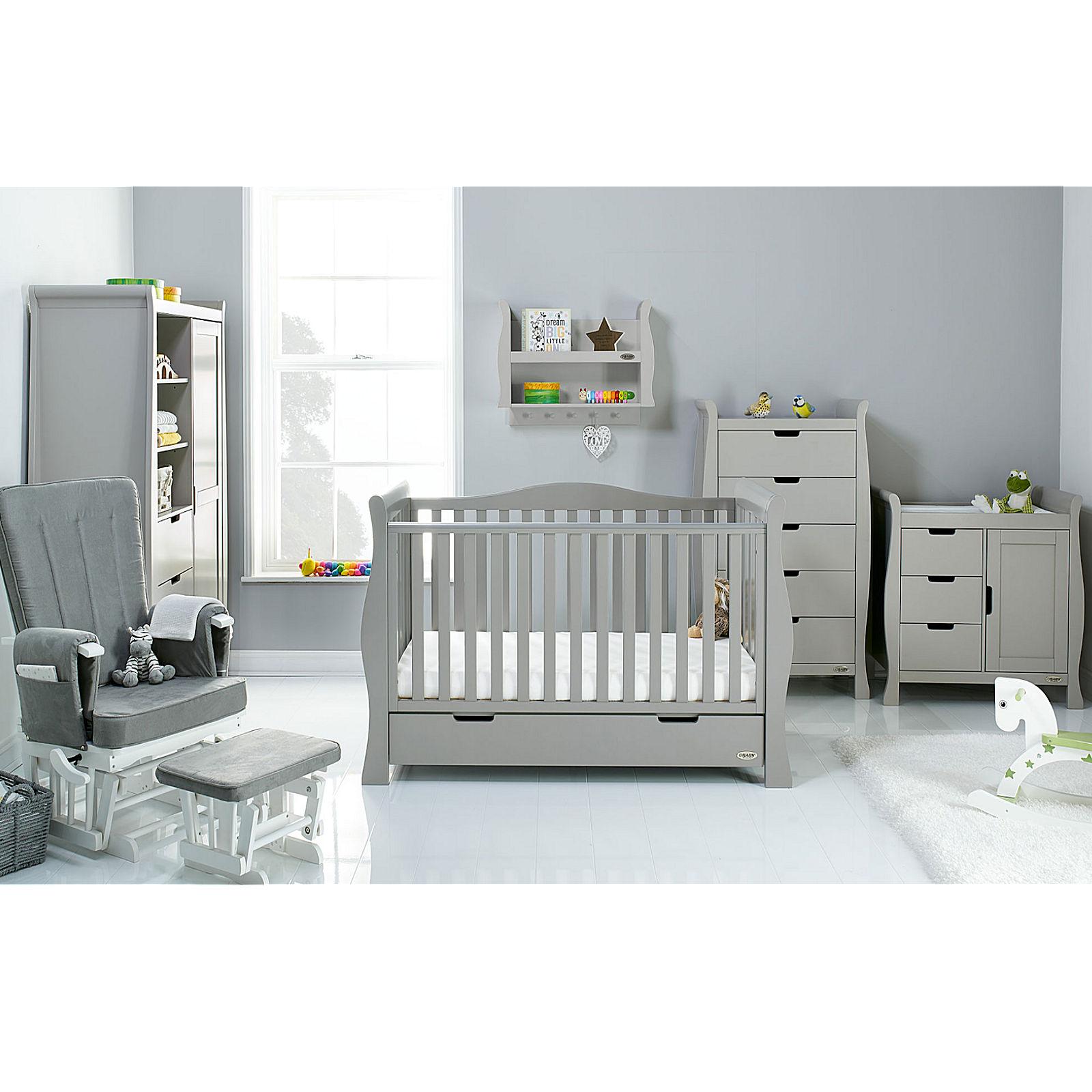 c6a915b7f742 Obaby Stamford Luxe Sleigh 5 Piece Nursery Room Set - Warm Grey ...