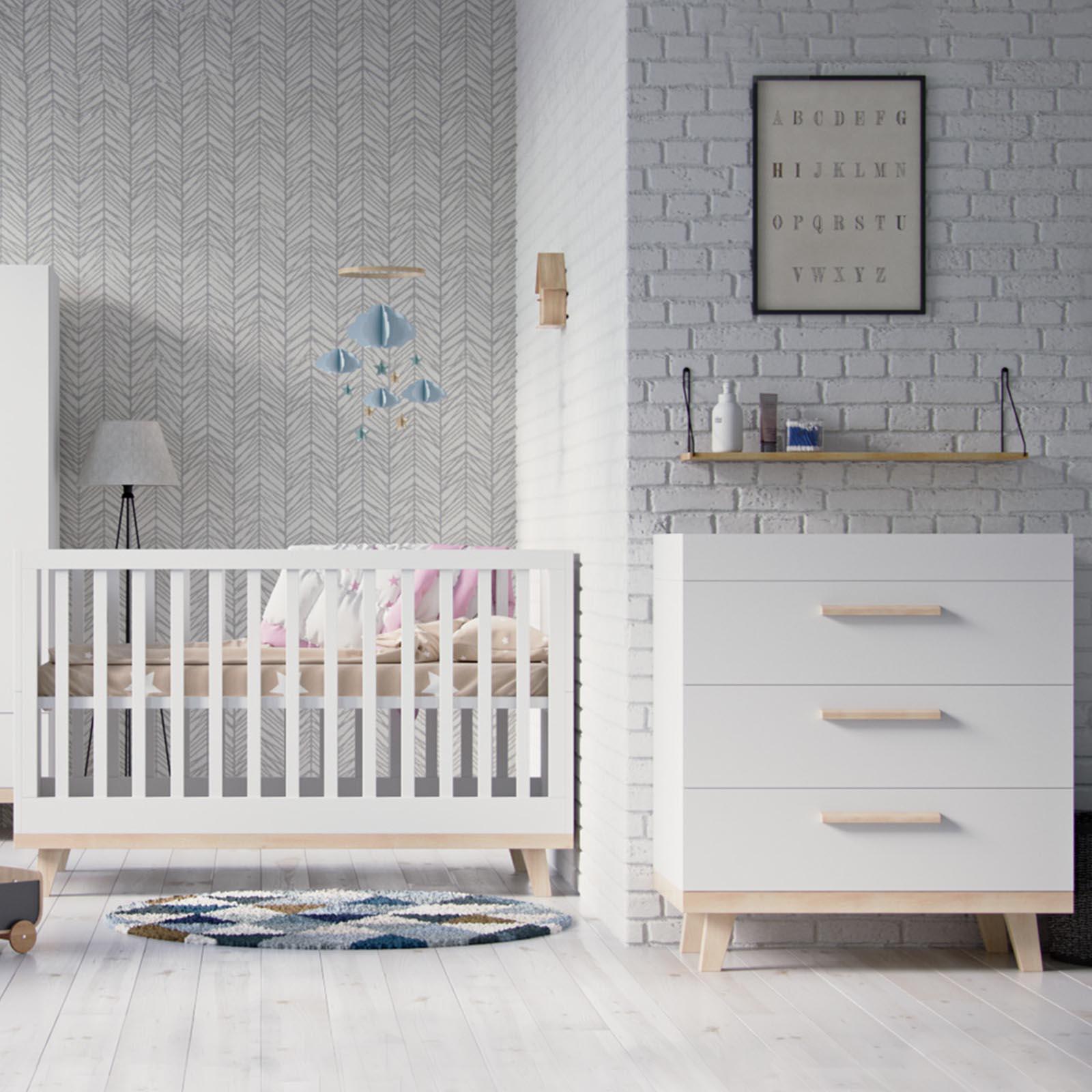 Little Acorns Luxury Genoa Cot Bed 3 Piece Nursery Furniture Set Dresser White