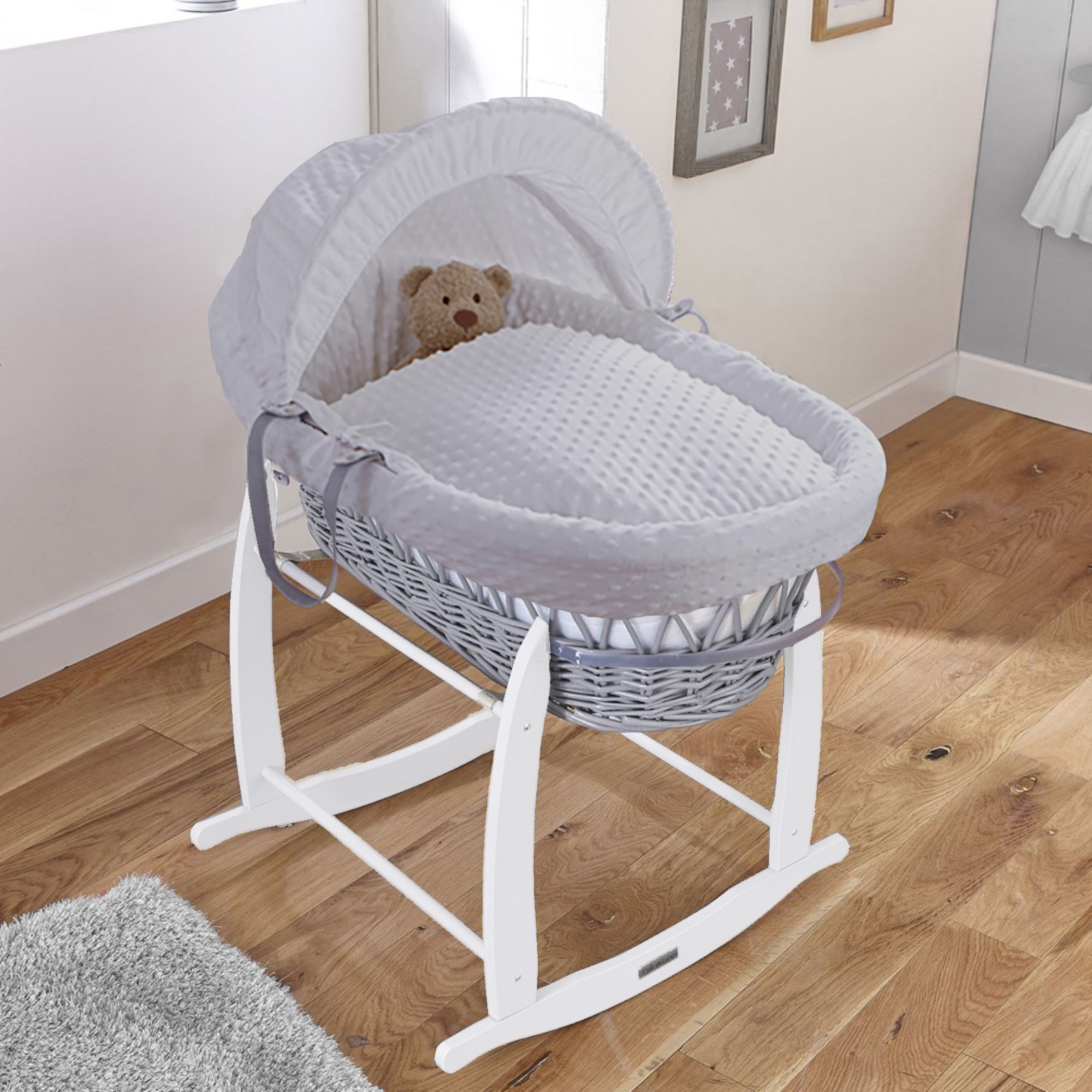 Clair De Lune Padded Grey Wicker Moses Basket & Deluxe Rocking Stand - Dimple Grey