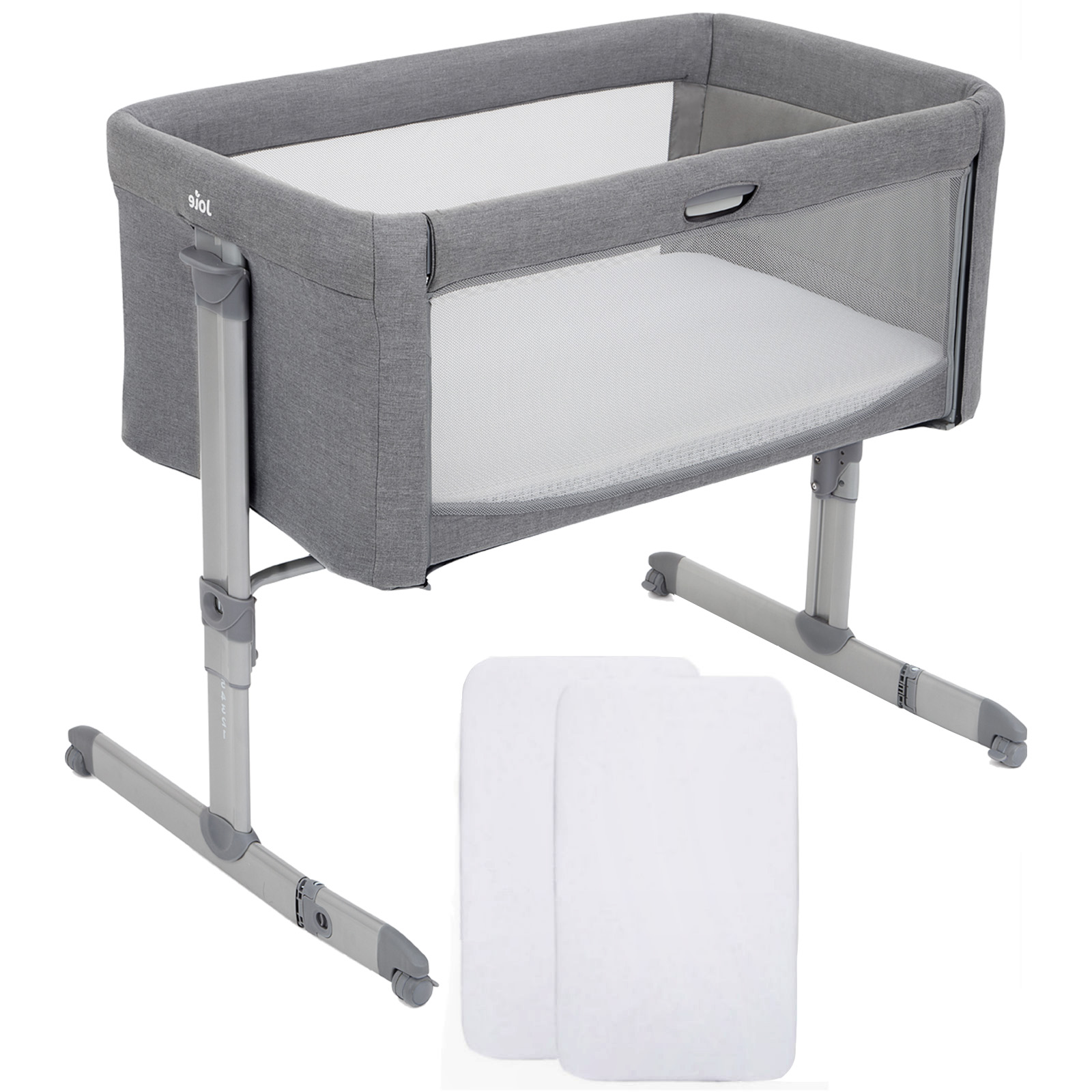 Joie Roomie Bedside Crib With 2 Fitted Sheets Grey Flannel Buy At Online4baby