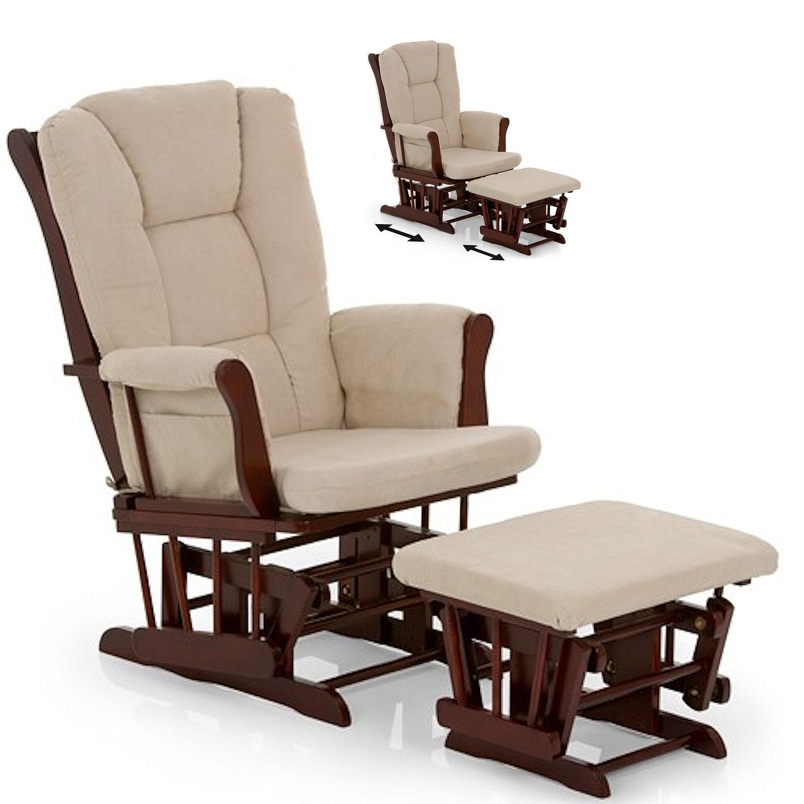 Hauck Glider Rocking Nursing Chair & Stool Walnut Beige